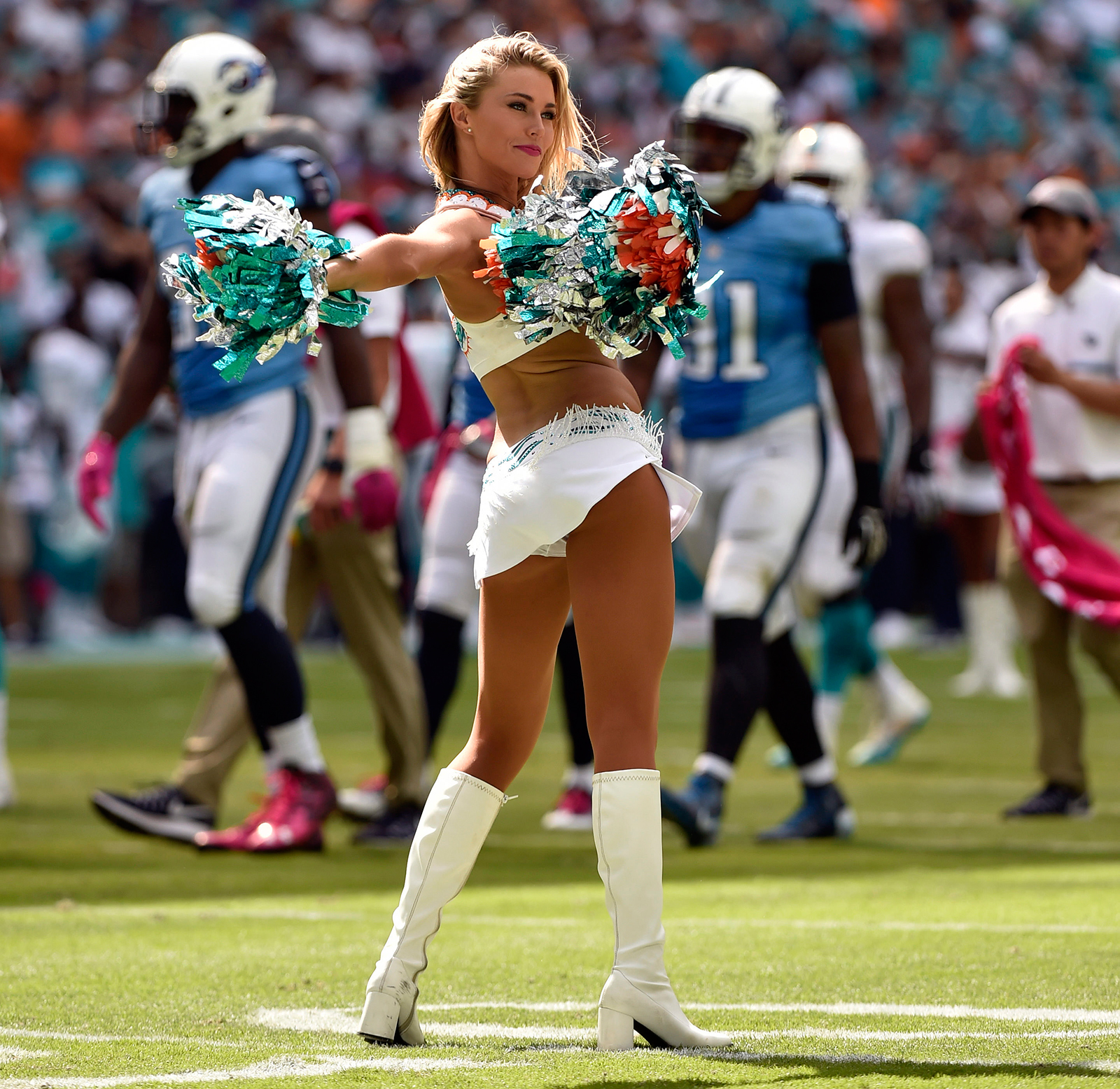 Oct 9, 2016; Miami Gardens, FL, USA; Miami Dolphins cheerleader performs during the second half against the Tennessee Titans at Hard Rock Stadium. Titans won 30-17. Mandatory Credit: Steve Mitchell-USA TODAY Sports