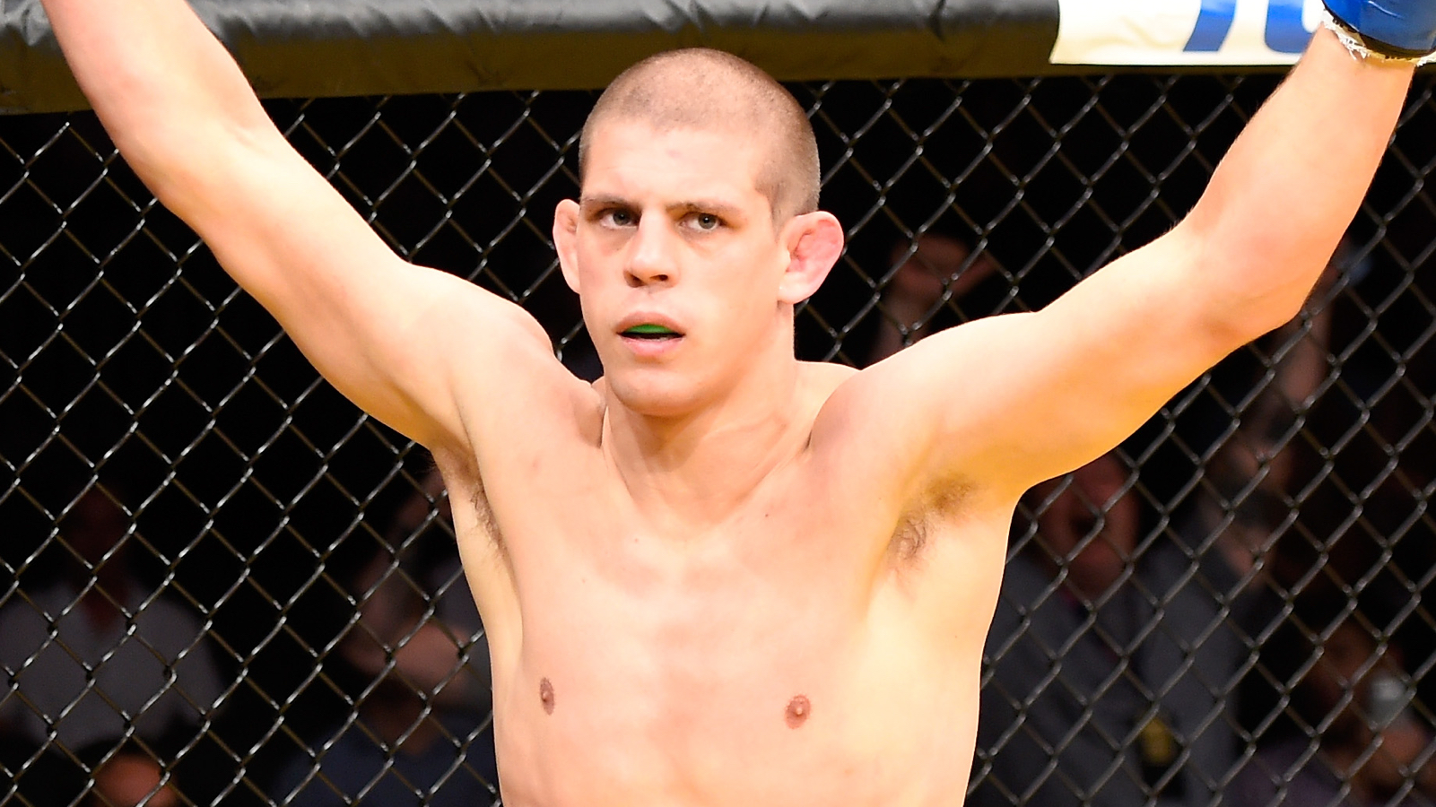 LAS VEGAS, NV - JULY 09: Joe Lauzon reacts to his victory over Diego Sanchez in their lightweight bout during the UFC 200 event on July 9, 2016 at T-Mobile Arena in Las Vegas, Nevada.  (Photo by Josh Hedges/Zuffa LLC/Zuffa LLC via Getty Images)