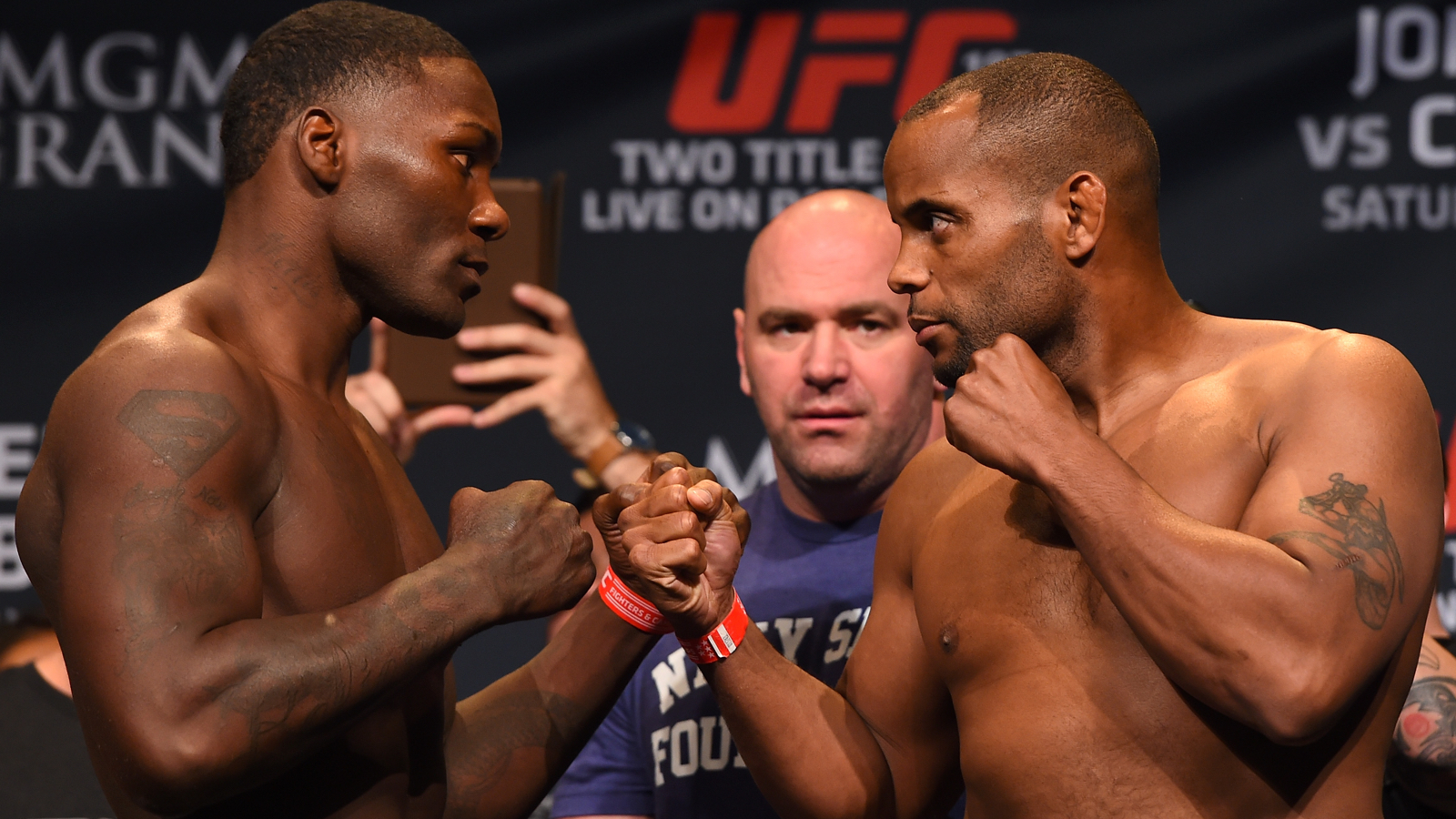 LAS VEGAS, NV - MAY 22:   (L-R) Opponents Anthony 'Rumble' Johnson and Daniel Cormier face off during the UFC 187 weigh-in at the MGM Grand Conference Center on May 22, 2015 in Las Vegas, Nevada. (Photo by Josh Hedges/Zuffa LLC/Zuffa LLC via Getty Images)