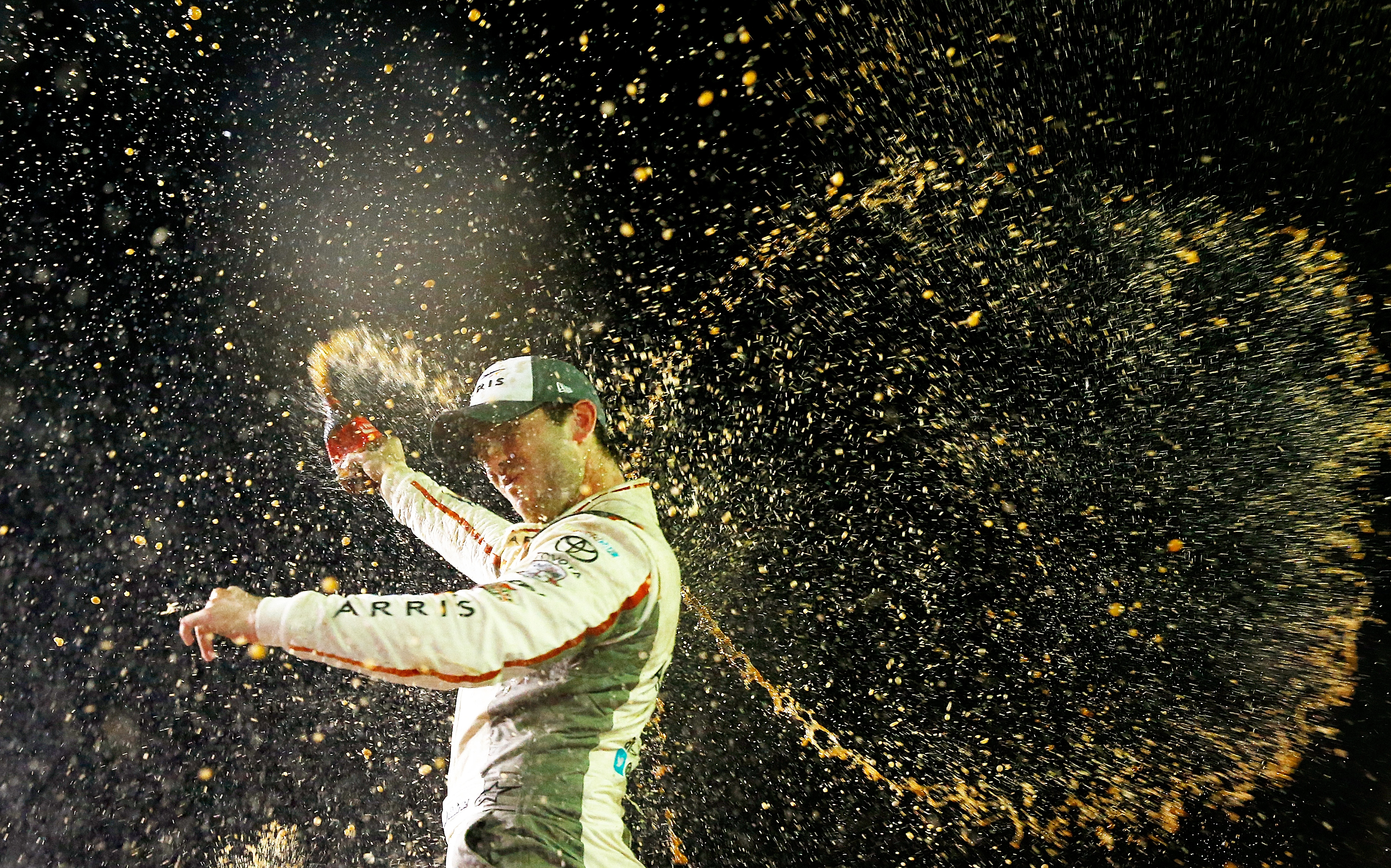 HOMESTEAD, FL - NOVEMBER 19:  Daniel Suarez, driver of the #19 ARRIS Toyota, celebrates in Victory Lane after winning the NASCAR XFINITY Series Ford EcoBoost 300 and the NASCAR XFINITY Series Championship at Homestead-Miami Speedway on November 19, 2016 in Homestead, Florida.  (Photo by Jonathan Ferrey/NASCAR via Getty Images)