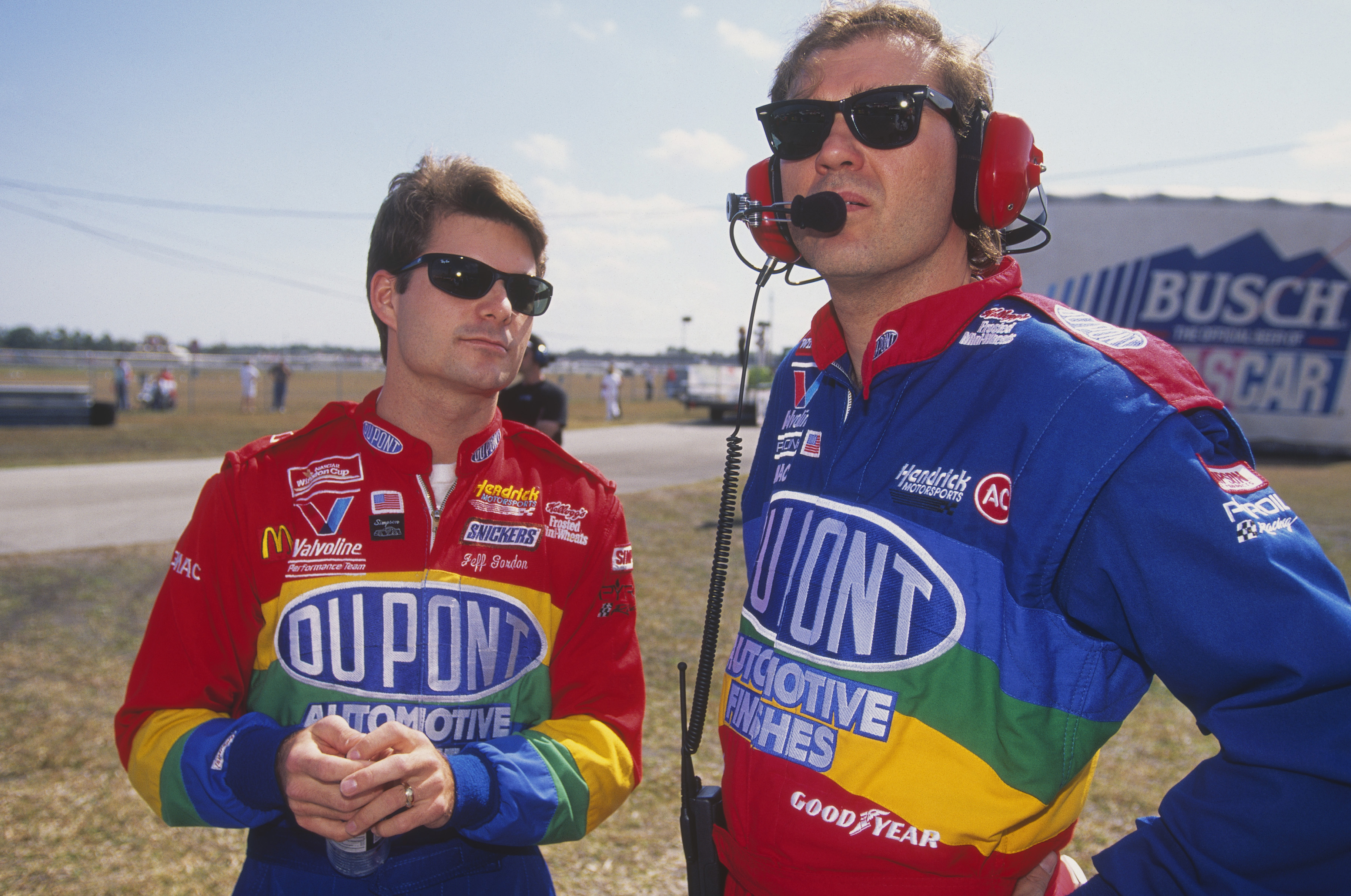 DAYTONA BEACH, FL - FEBRUARY 19: Jeff Gordon stands next to his crew chief Ray Evernham during the Daytona 500 at the Daytona Speedway on February 19, 1995 in Daytona Beach, Florida. (Photo by Focus on Sport/Getty Images)