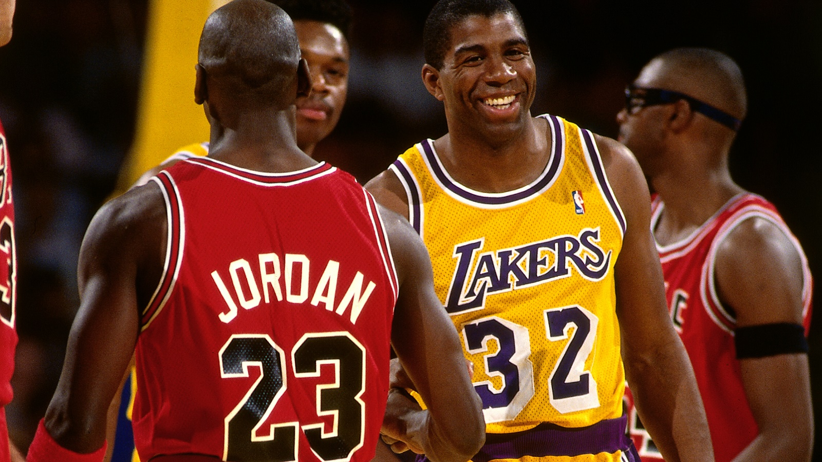 INGLEWOOD, CA- JUNE 9: Magic Johnson #32 of the Los Angeles Lakers and Michael Jordan #23 of the Chicago Bulls during Game Four of the 1991 NBA Finals on June 9, 1991 at the Great Western Forum in Inglewood, California. NOTE TO USER: User expressly acknowledges and agrees that, by downloading and/or using this Photograph, user is consenting to the terms and conditions of the Getty Images License Agreement. Mandatory Copyright Notice: Copyright 1991 NBAE (Photo by Andrew D. Bernstein/NBAE via Getty Images)