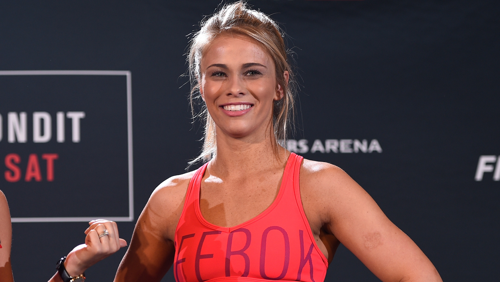 VANCOUVER, BC - AUGUST 25:  (L-R) UFC host and reporter Megan Olivig interacts with Paige VanZant during an open workout session for media and fans at the Hyatt Regency Vancouver on August 25, 2016 in Vancouver, Canada. (Photo by Jeff Bottari/Zuffa LLC/Zuffa LLC via Getty Images)