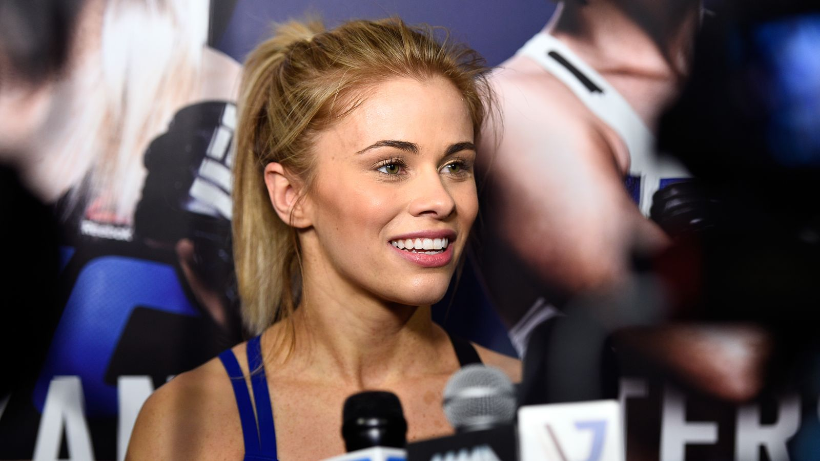 SACRAMENTO, CA - DECEMBER 15:  Paige VanZant interacts with media after an open training session for fans and media at the Golden 1 Center on December 15, 2016 in Sacramento, California. (Photo by Jeff Bottari/Zuffa LLC/Zuffa LLC via Getty Images)