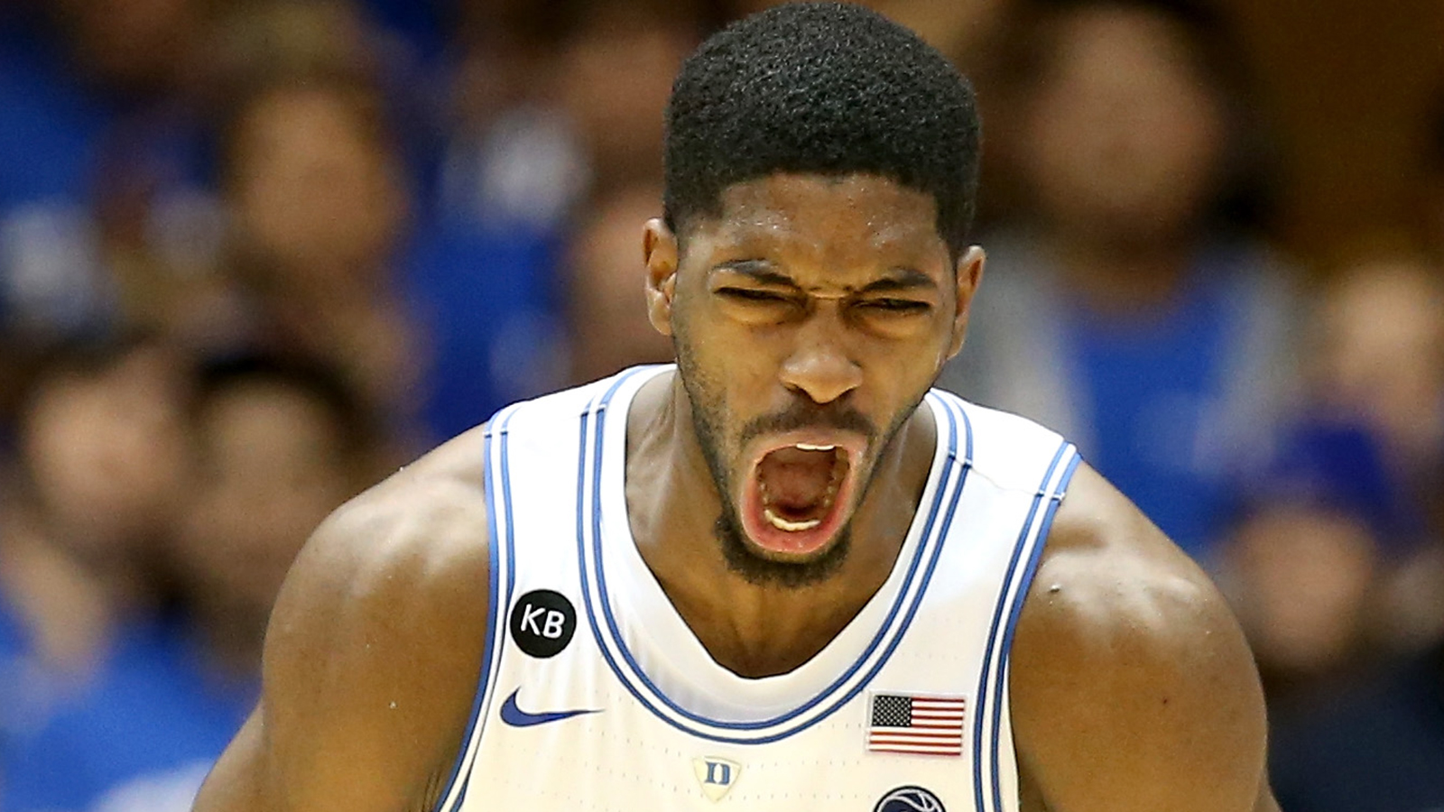 DURHAM, NC - DECEMBER 19:  Amile Jefferson #21 of the Duke Blue Devils reacts after a play against the Tennessee State Tigers during their game at Cameron Indoor Stadium on December 19, 2016 in Durham, North Carolina.  (Photo by Streeter Lecka/Getty Images)