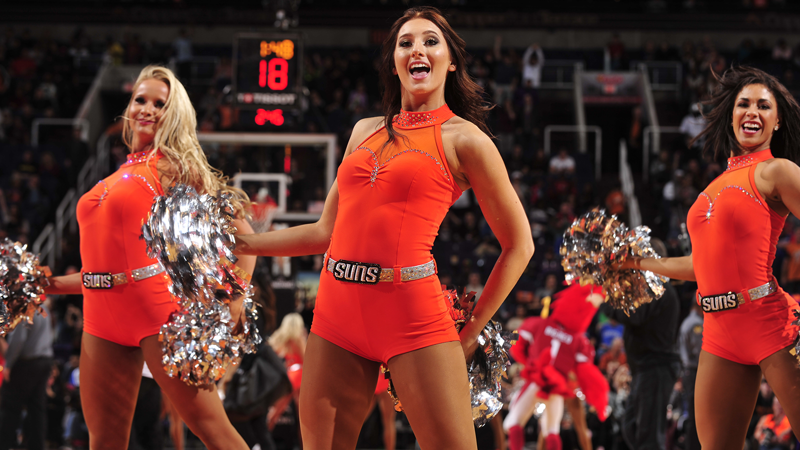 PHOENIX, AZ - DECEMBER 11: The Phoenix Suns dance team performs; against the New Orleans Pelicans on December 11, 2016 at Talking Stick Resort Arena in Phoenix, Arizona. NOTE TO USER: User expressly acknowledges and agrees that, by downloading and or using this photograph, user is consenting to the terms and conditions of the Getty Images License Agreement. Mandatory Copyright Notice: Copyright 2016 NBAE (Photo by Barry Gossage/NBAE via Getty Images)
