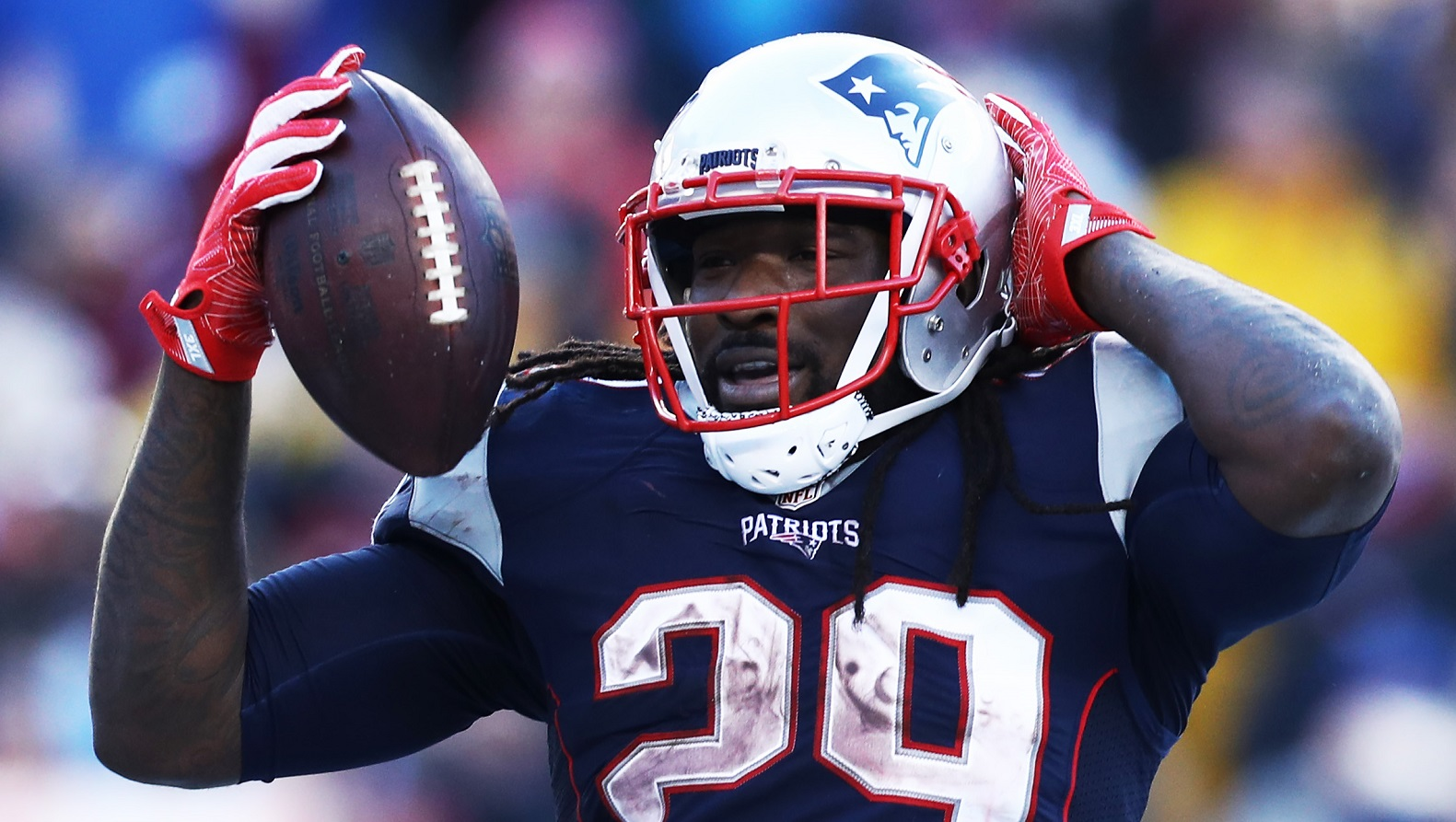 FOXBORO, MA - DECEMBER 24: LeGarrette Blount #29 of the New England Patriots celebrates after scoring a touchdown against the New York Jets  during the first half at Gillette Stadium on December 24, 2016 in Foxboro, Massachusetts. (Photo by Maddie Meyer/Getty Images)