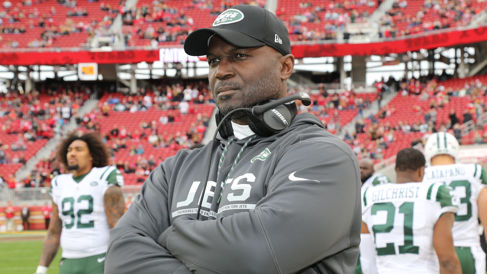 SANTA CLARA, CA - DECEMBER 11: Head Coach Todd Bowles of the New York Jets in action against the San Francisco 49ers at Levi's Stadium on December 11, 2016 in Santa Clara, California. (Photo by Al Pereira/Getty Images)