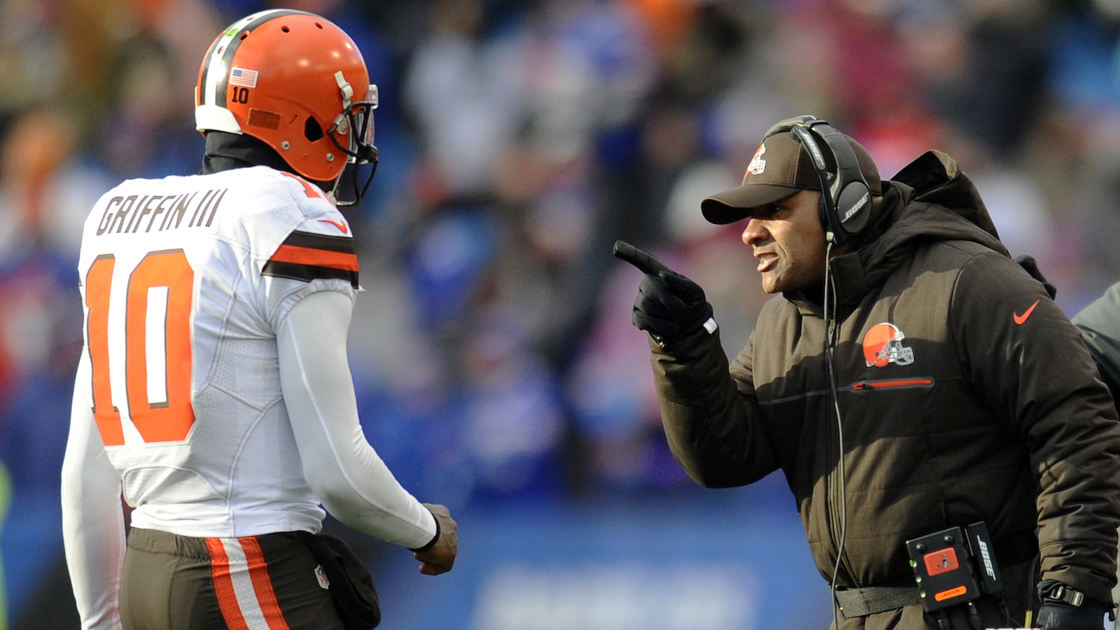 ORCHARD PARK, NY - DECEMBER 18, 2016: Quarterback Robert Griffin III #10 of the Cleveland Browns is greeted on the sideline by head coach Hue Jackson after scoring a rushing touchdown during a game against the Buffalo Bills on December 16, 2016 at New Era Field in Orchard Park, New York. Buffalo won 33-13. (Photo by: Nick Cammett/Diamond Images/Getty Images)
