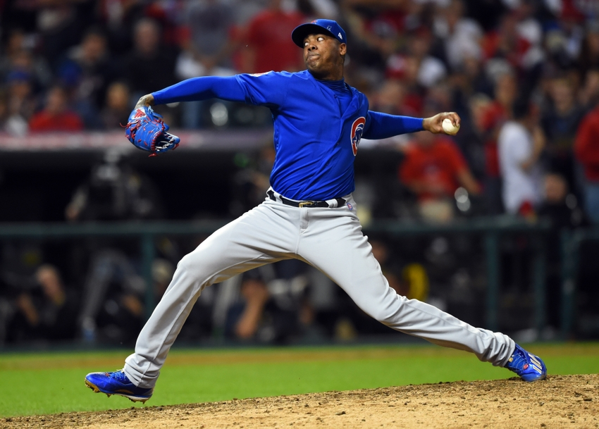 Cubs pitcher Aroldis Chapman chides manager Maddon