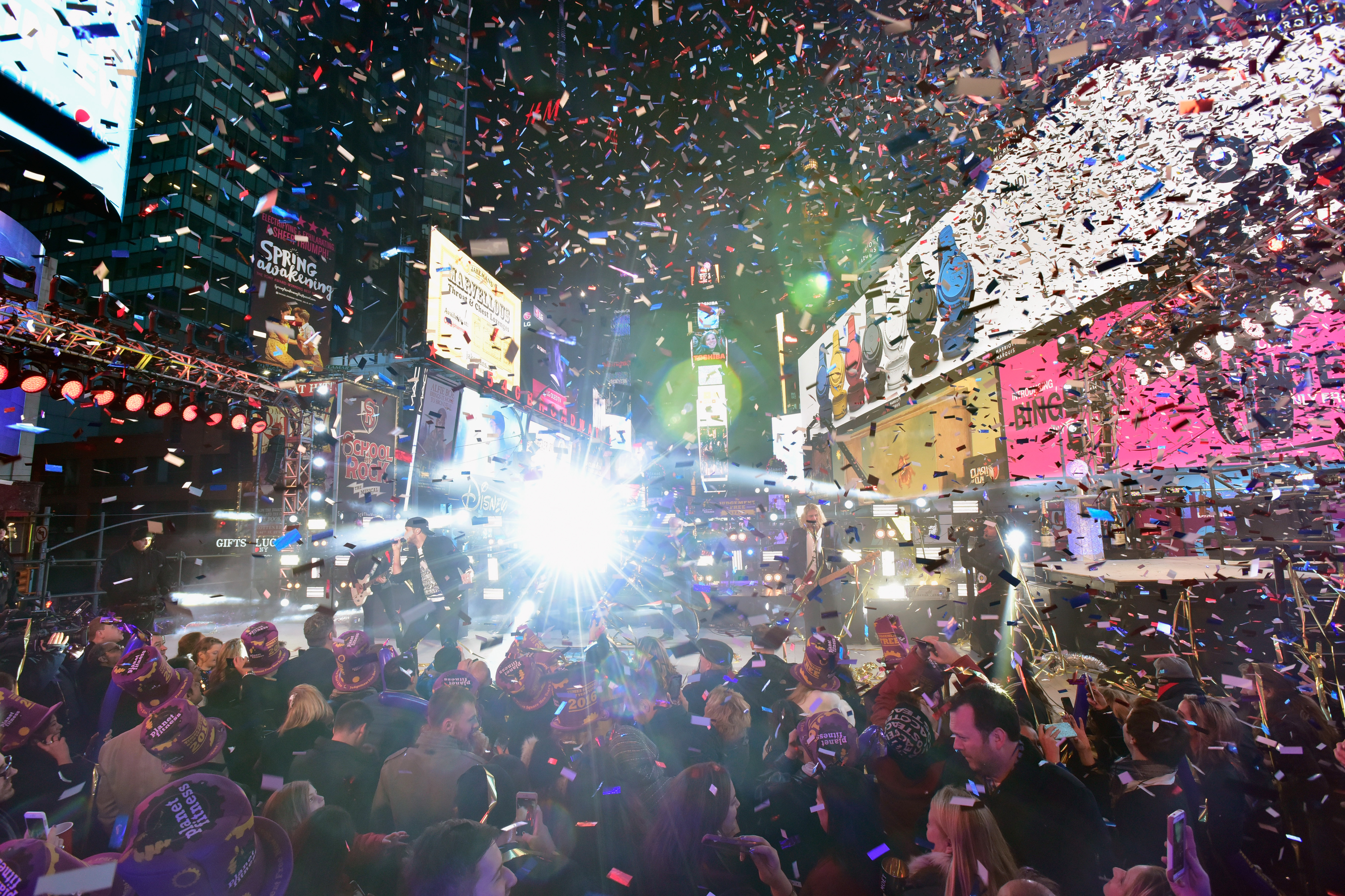 NEW YORK, NY - DECEMBER 31:  Luke Bryan performs on stage during New Year's Eve celebrations at Times Square on December 31, 2015 in New York City.  (Photo by Eugene Gologursky/Getty Images for TOSHIBA CORPORATION)
