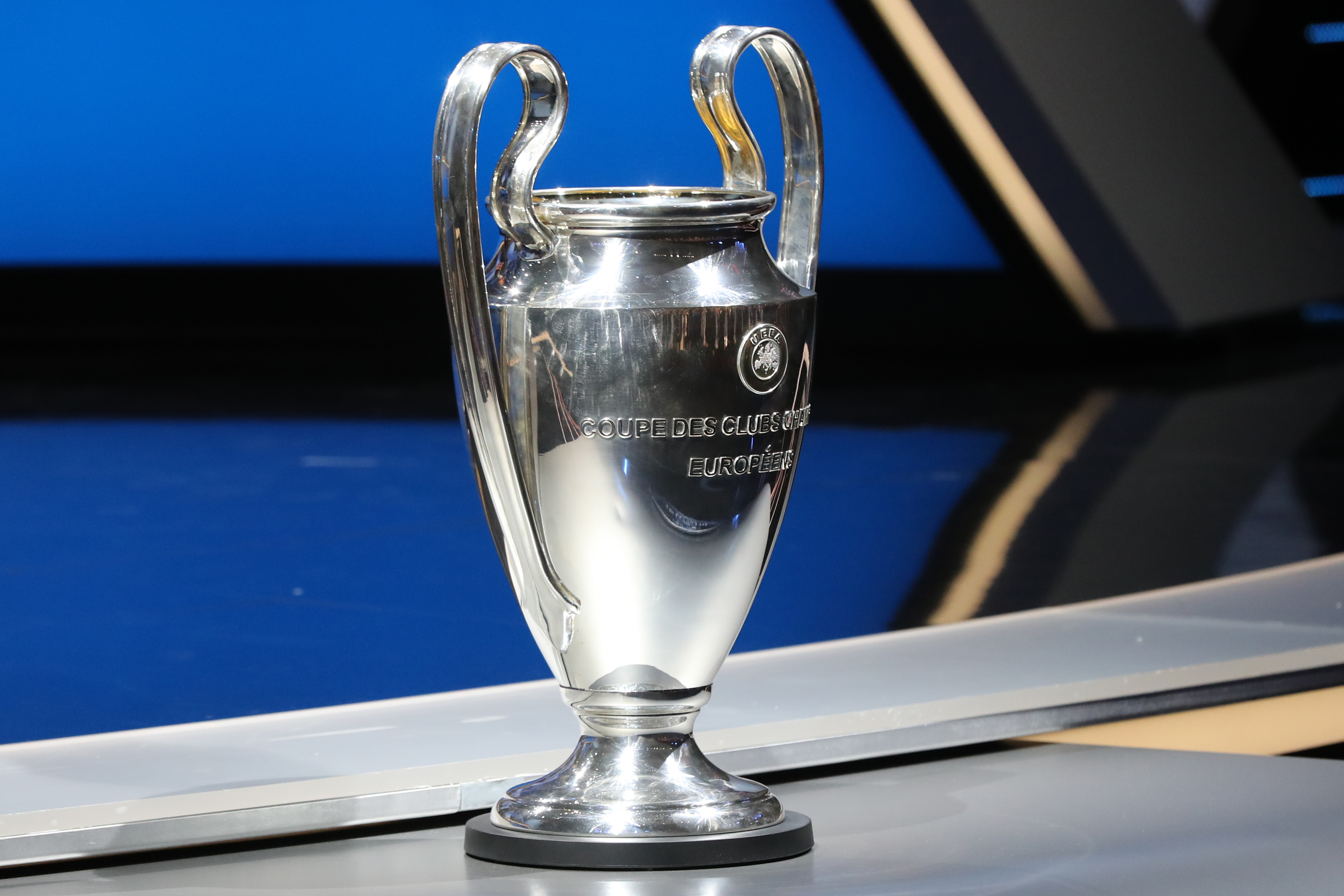 The Champions League trophy is pictured at the start of the UEFA Champions League Group stage draw ceremony, on August 25, 2016 in Monaco.  AFP PHOTO / VALERY HACHE / AFP / VALERY HACHE        (Photo credit should read VALERY HACHE/AFP/Getty Images)