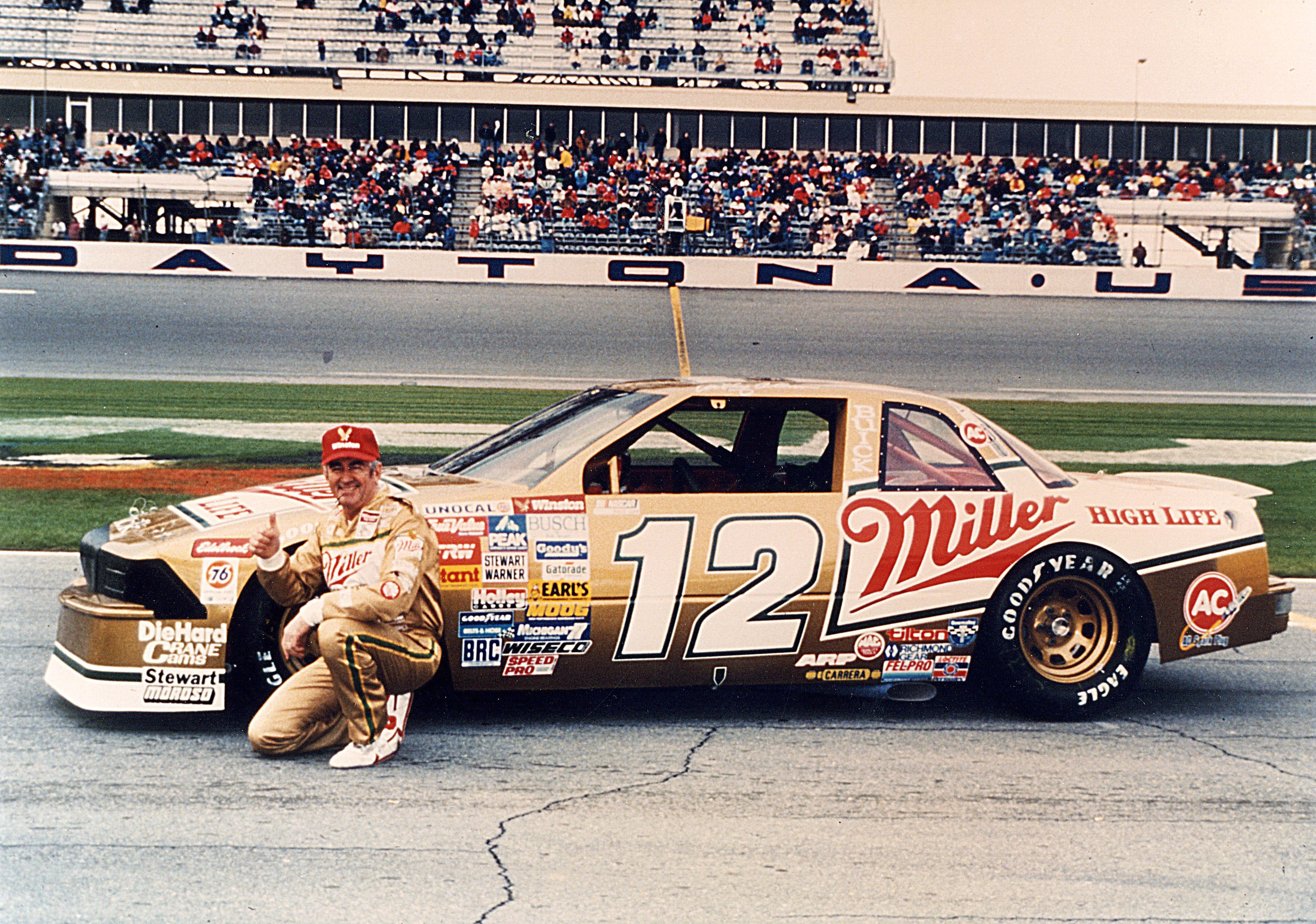 DAYTONA BEACH, FL - FEBRUARY 14, 1988:  Bobby Allison #12 topped his son, Davey, by two car lengths in the 1988 Daytona 500. It was only the second time in NASCAR Cup Series history that a father-son finished one-two. Lee and Richard Petty did it in 1960. The win was Allison's career last.  (Photo by ISC Archives via Getty Images)