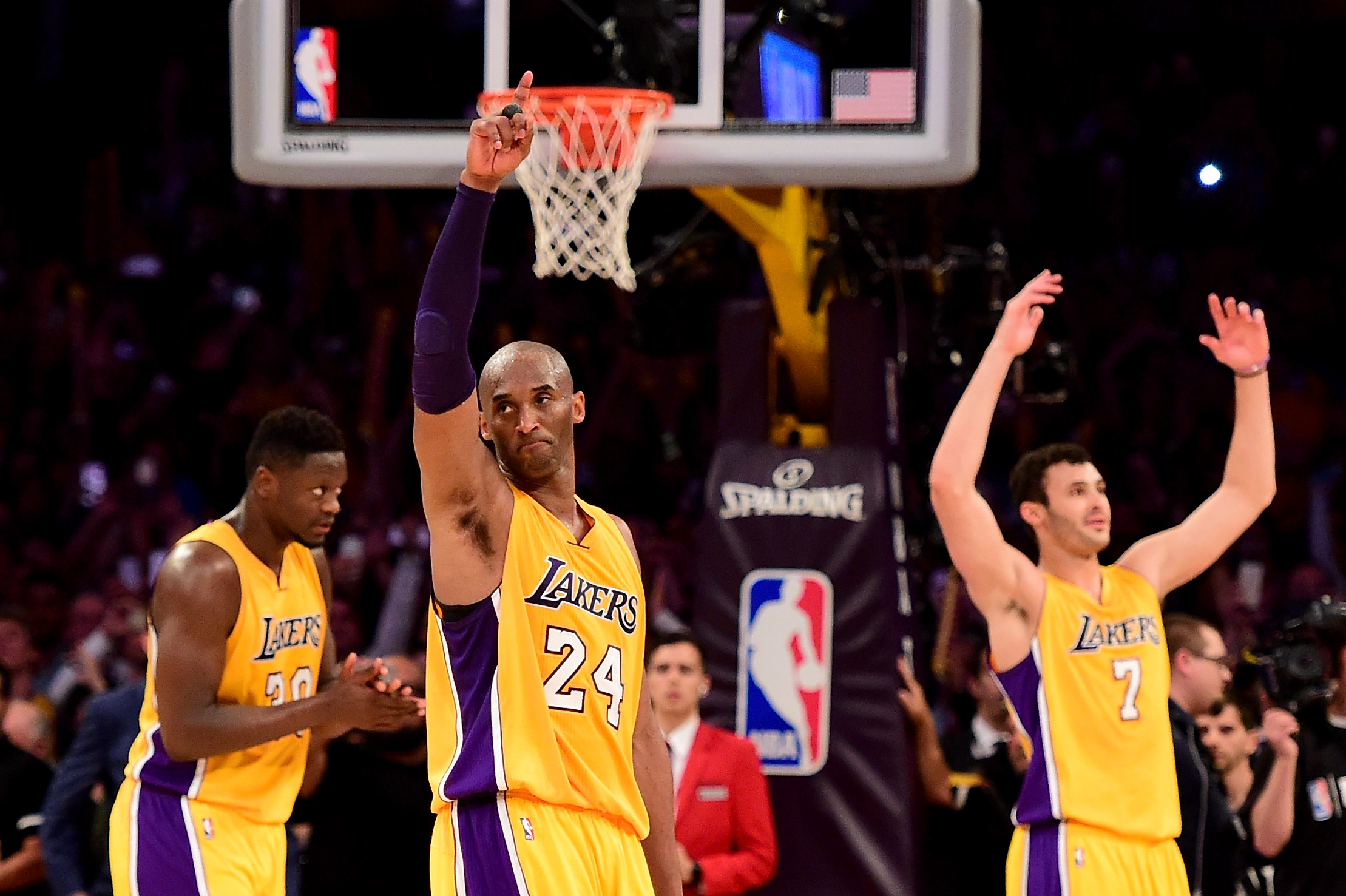 LOS ANGELES, CA - APRIL 13:  Kobe Bryant #24 of the Los Angeles Lakers waves to the crowd as he is taken out of the game after scoring 60 points against the Utah Jazz at Staples Center on April 13, 2016 in Los Angeles, California. NOTE TO USER: User expressly acknowledges and agrees that, by downloading and or using this photograph, User is consenting to the terms and conditions of the Getty Images License Agreement.  (Photo by Harry How/Getty Images)