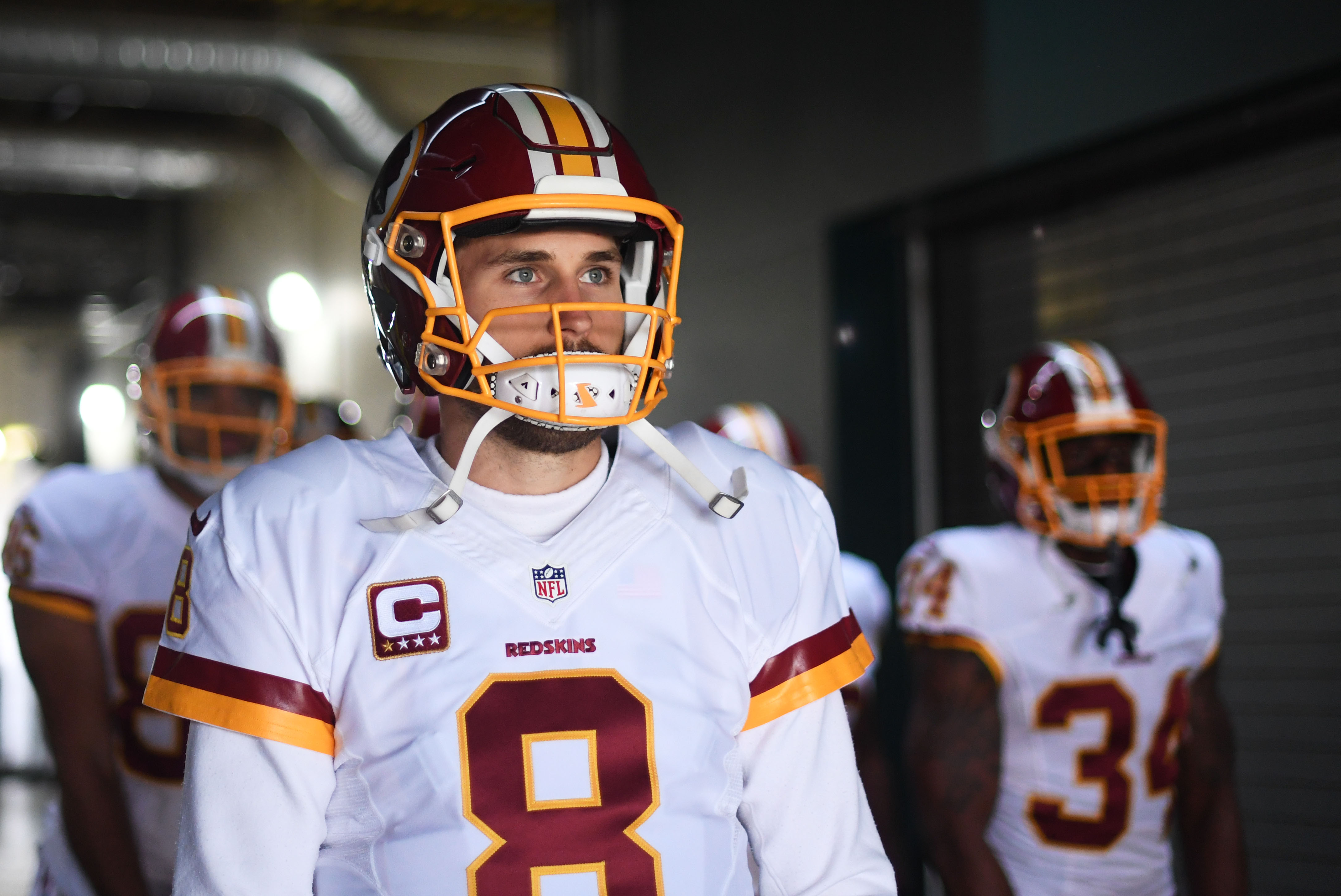 Dec 11, 2016; Philadelphia, PA, USA; Washington Redskins quarterback Kirk Cousins (8) before warmups against the Philadelphia Eagles at Lincoln Financial Field. Mandatory Credit: James Lang-USA TODAY Sports