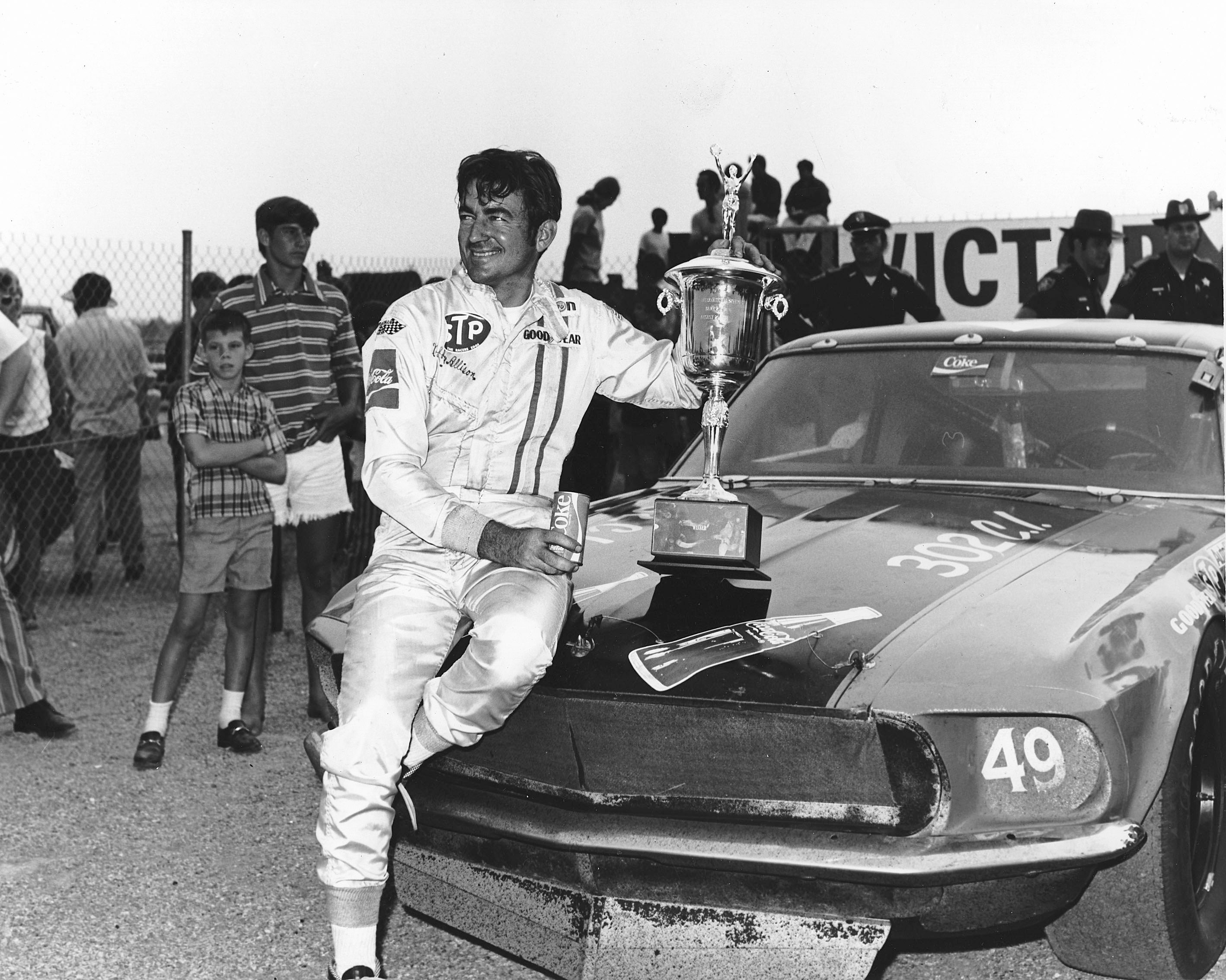 TALLADEGA, AL - AUGUST 21, 1971: Bobby Allison won the 'Bama 200 NASCAR Grand American race with a '69 Mustang. (Photo by ISC Archives via Getty Images)