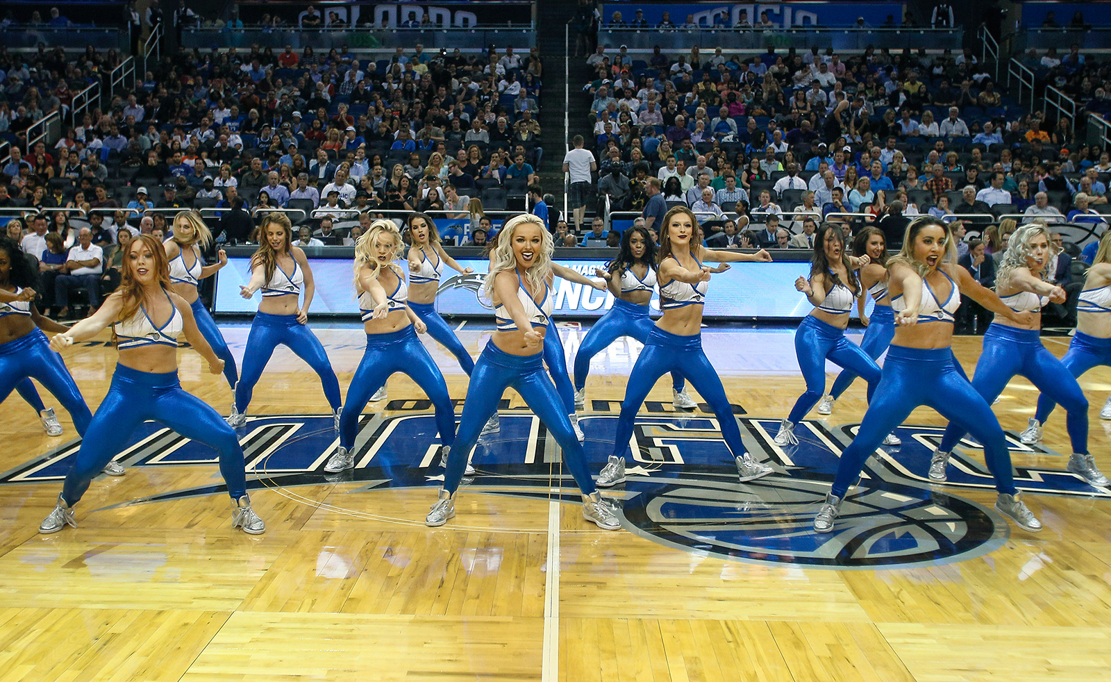 Apr 11, 2016; Orlando, FL, USA; Thde Orlando Magic Dancers perform during the second half of a basketball game between the Milwaukee Bucks and the Orlando Magic at Amway Center. The Magic won 107-98. Mandatory Credit: Reinhold Matay-USA TODAY Sports