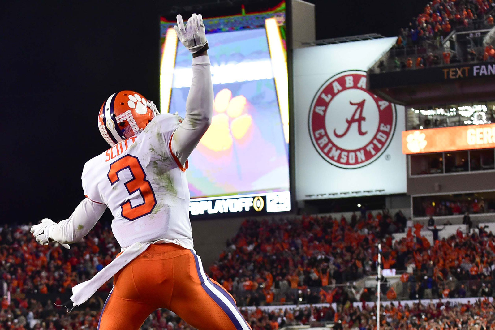 Jan 9, 2017; Tampa, FL, USA; Clemson Tigers wide receiver Artavis Scott (3) celebrates defeating Alabama Crimson Tide in the 2017 College Football Playoff National Championship Game at Raymond James Stadium. Mandatory Credit: Steve Mitchell-USA TODAY Sports