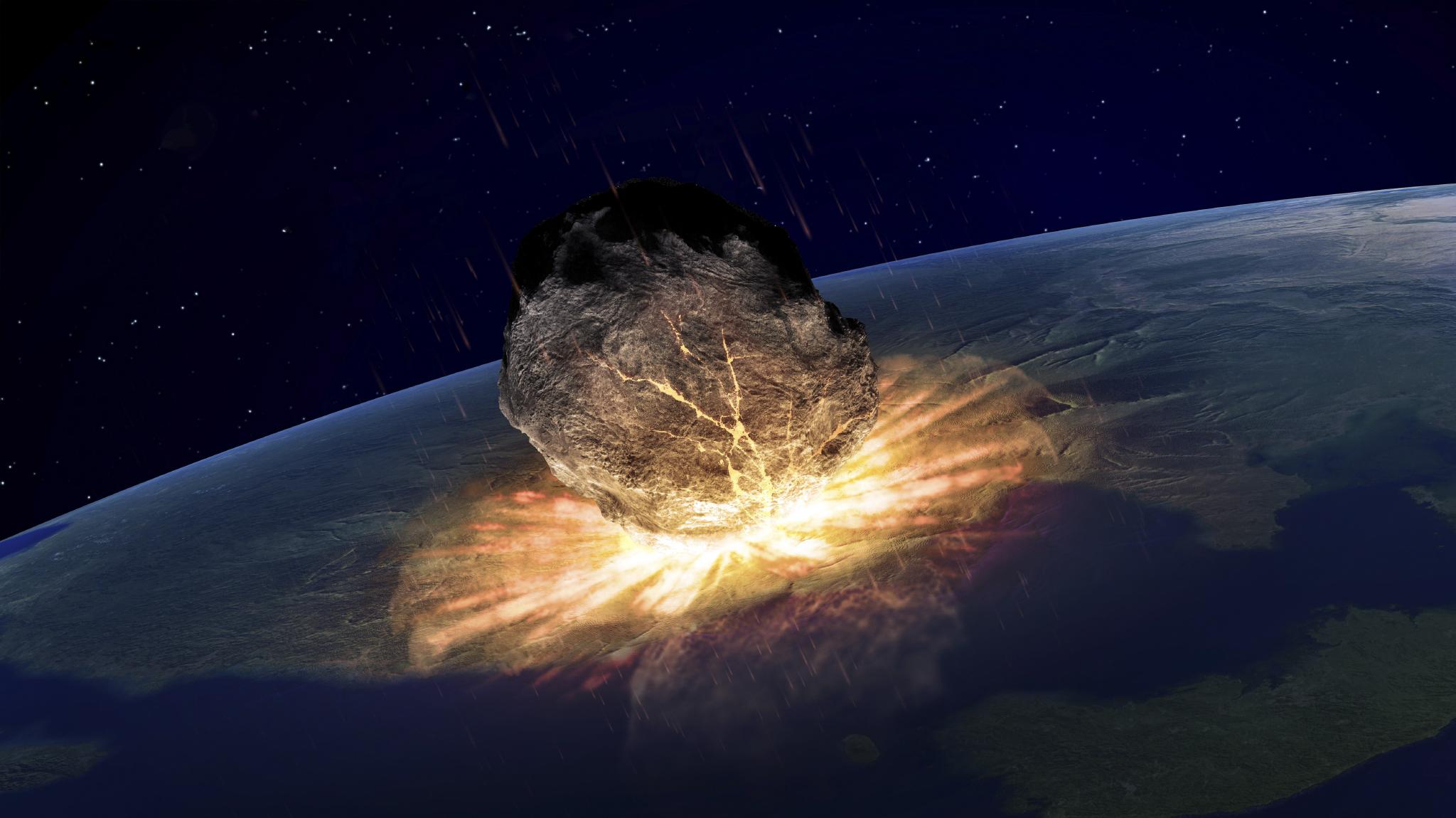 Asteroid hitting earth, artwork