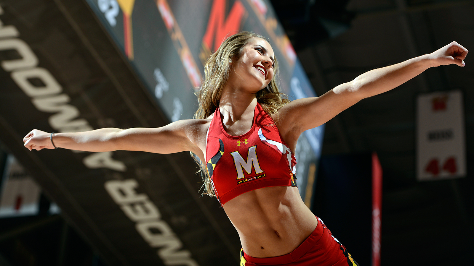 COLLEGE PARK, MD - JANUARY 24:  A Maryland Terrapins cheerleader performs during the game against the Rutgers Scarlet Knights at Xfinity Center on January 24, 2017 in College Park, Maryland.  (Photo by G Fiume/Maryland Terrapins/Getty Images)