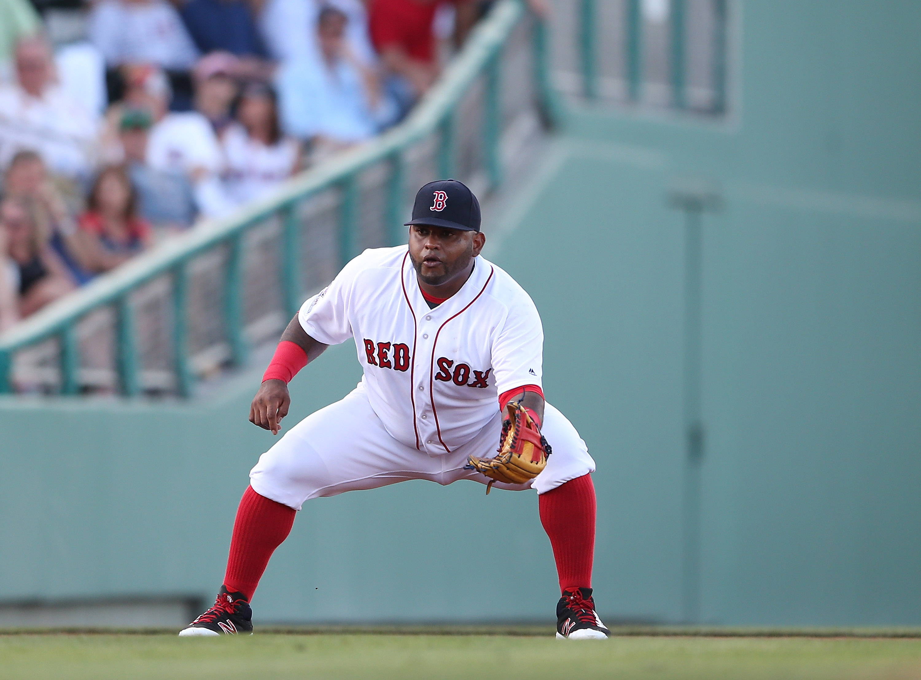 FORT MYERS, FL - MARCH 15: Pablo Sandoval #48 of the Boston Red Sox gets ready to field the ball during the second inning of the Spring Training Game against the New York Yankees on March 15, 2016 at Jet Blue Park at Fenway South, Fort Myers, Florida. The Yankees defeated the Red Sox 6-3. (Photo by Leon Halip/Getty Images)