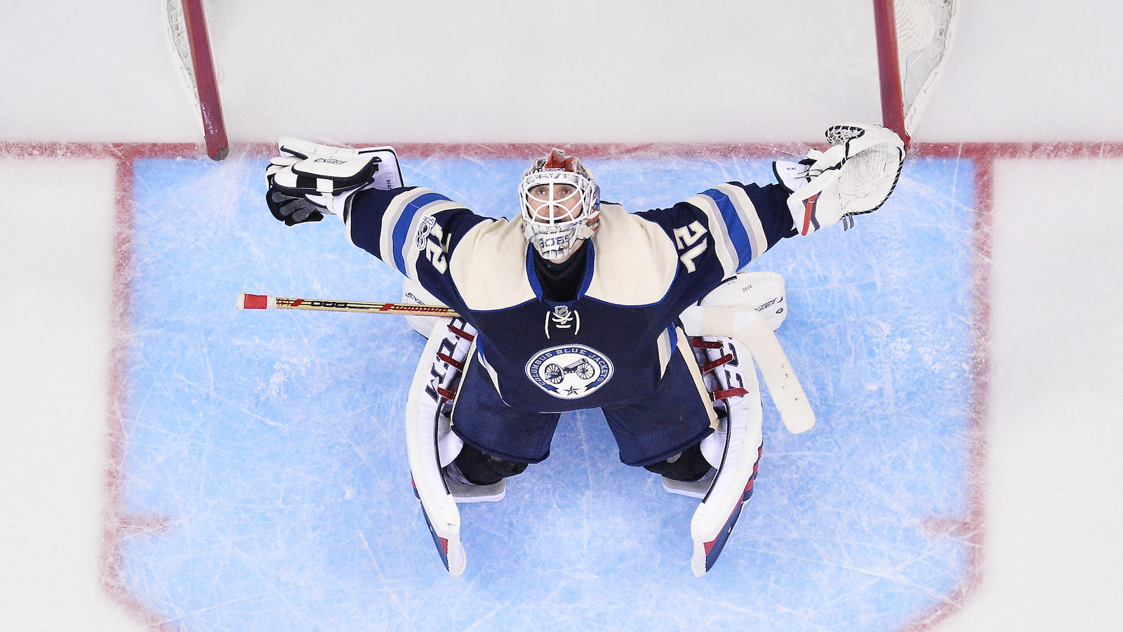 COLUMBUS, OH - JANUARY 3: Goaltender Sergei Bobrovsky #72 of the Columbus Blue Jackets stretches prior to the start of the third period of a game against the Edmonton Oilers on January 3, 2017 at Nationwide Arena in Columbus, Ohio. Columbus defeated Edmonton 3-1. (Photo by Jamie Sabau/NHLI via Getty Images)