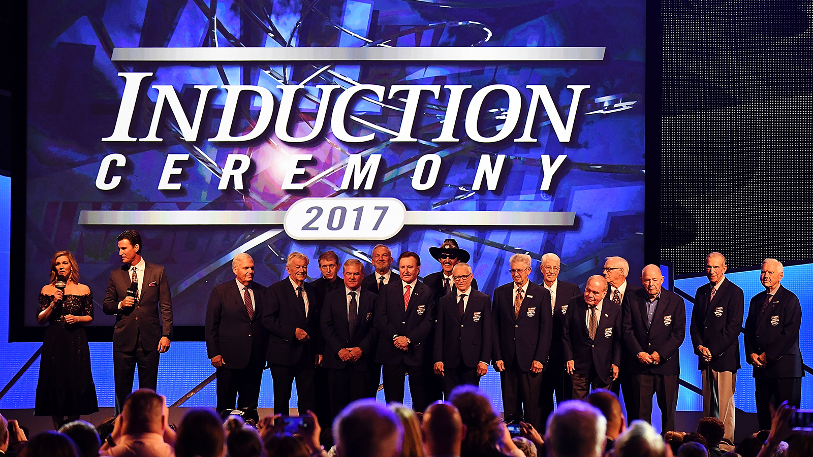 CHARLOTTE, NC - JANUARY 20: The living members of the NASCAR Hall of Fame gather as a group at the conclusion of the 2017 Hall of Fame Induction Ceremony at NASCAR Hall of Fame on January 20, 2017 in Charlotte, North Carolina.  (Photo by Mike Comer/Getty Images)