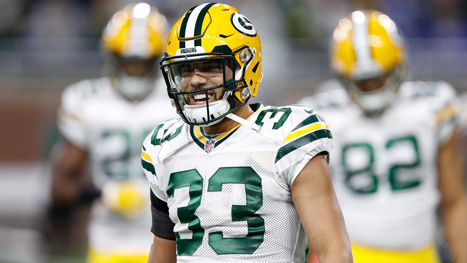 Jan 1, 2017; Detroit, MI, USA; Green Bay Packers strong safety Micah Hyde (33) smiles before the game against the Detroit Lions at Ford Field. Packers won 31-24. Mandatory Credit: Raj Mehta-USA TODAY Sports