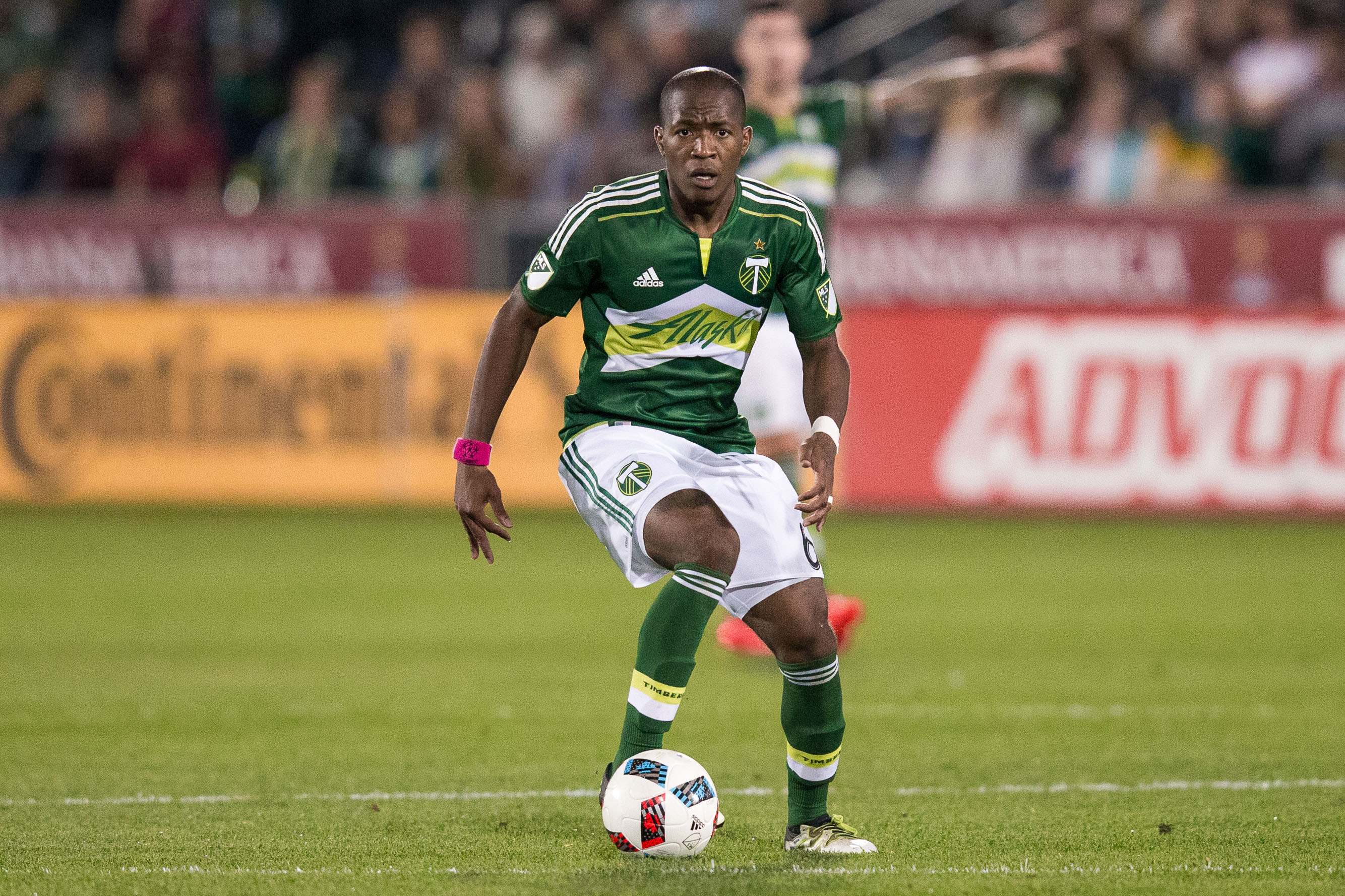 Oct 1, 2016; Commerce City, CO, USA; Portland Timbers midfielder Darlington Nagbe (6) controls the ball in the first half against the Colorado Rapids at Dick's Sporting Goods Park. Mandatory Credit: Isaiah J. Downing-USA TODAY Sports