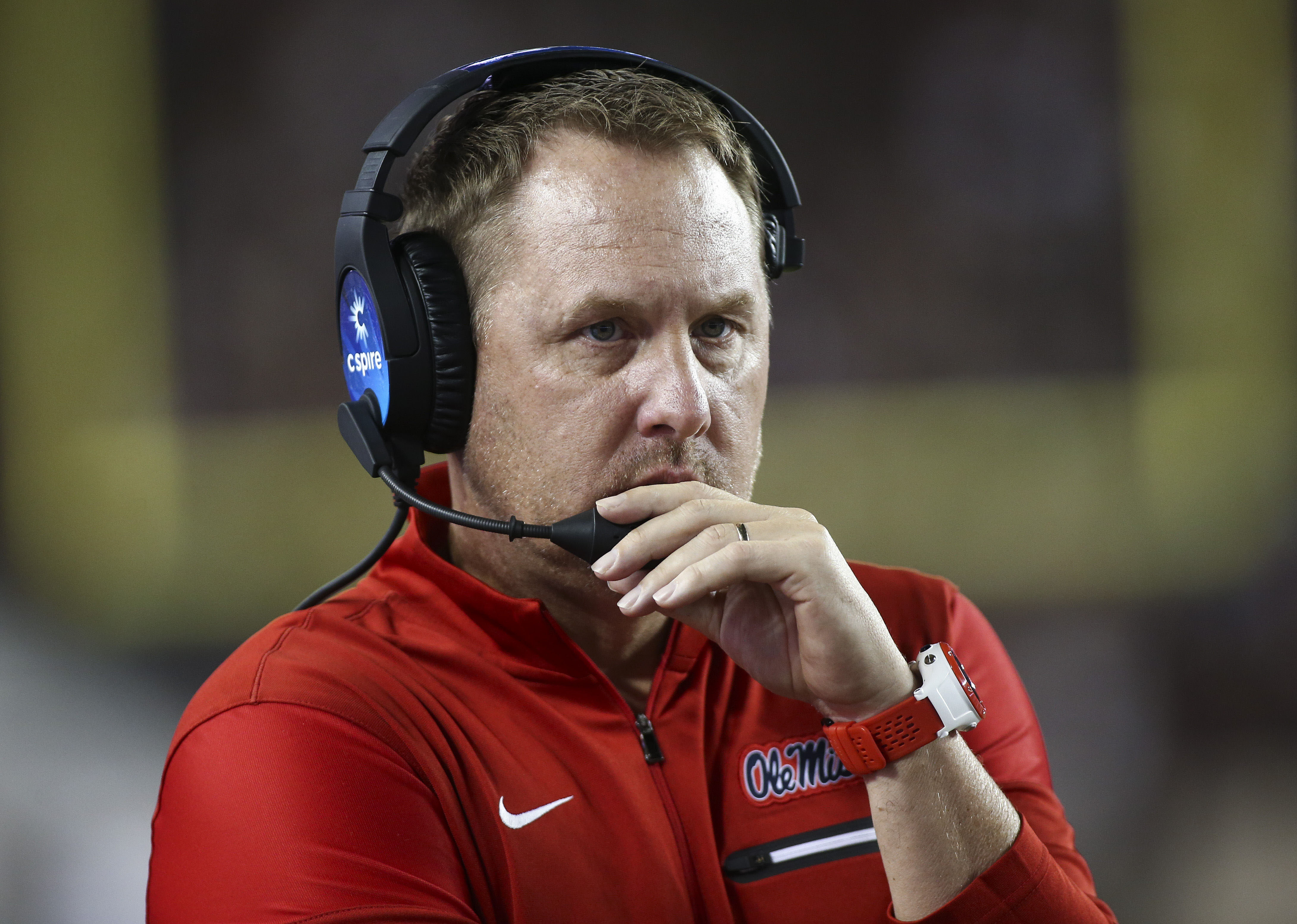 Nov 12, 2016; College Station, TX, USA; Mississippi Rebels head coach Hugh Freeze during the game against the Texas A&M Aggies at Kyle Field. Mandatory Credit: Troy Taormina-USA TODAY Sports