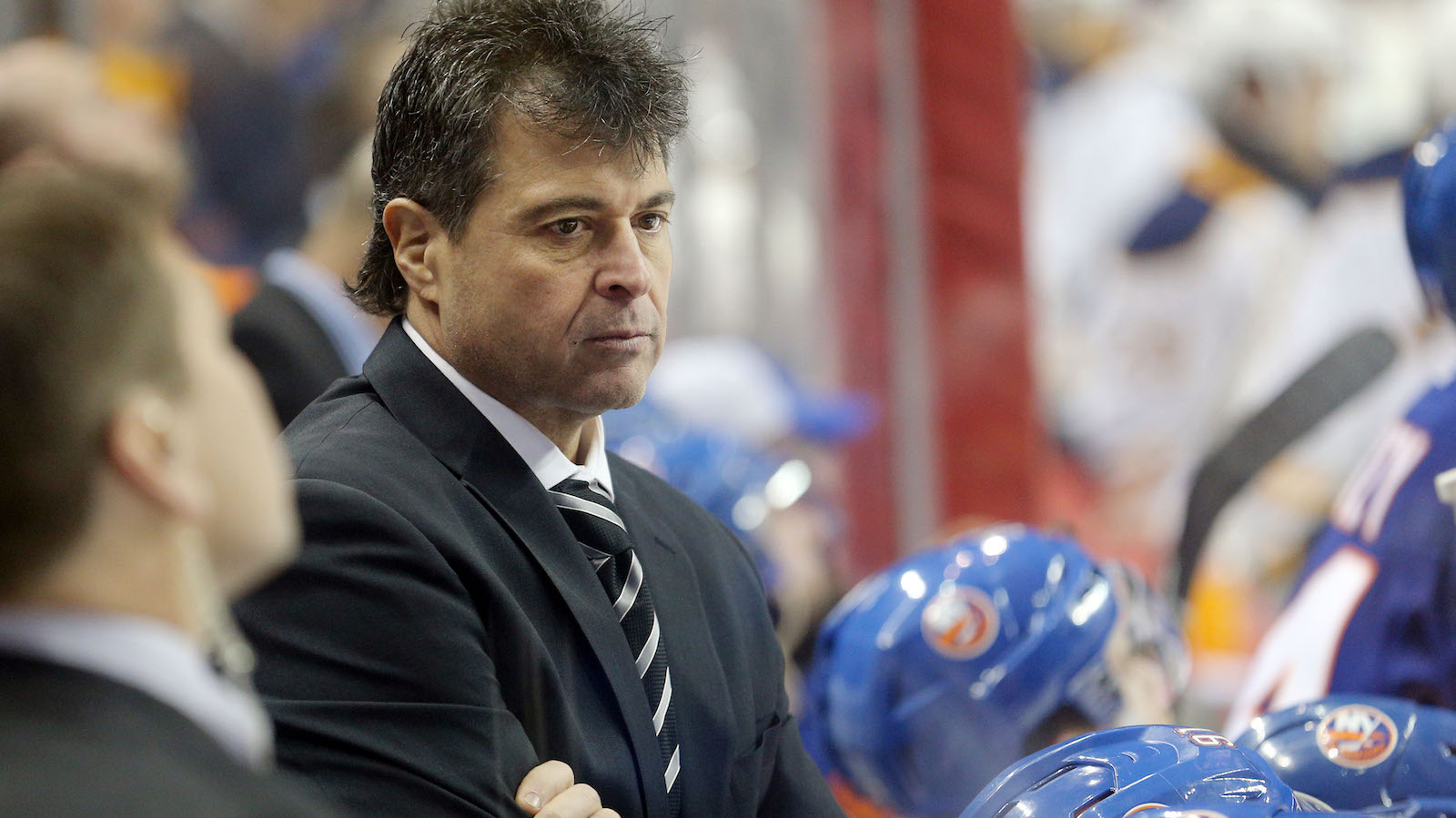 Dec 23, 2016; Brooklyn, NY, USA; New York Islanders head coach Jack Capuano looks on coaches against the Buffalo Sabres during the second period at Barclays Center. Mandatory Credit: Brad Penner-USA TODAY Sports