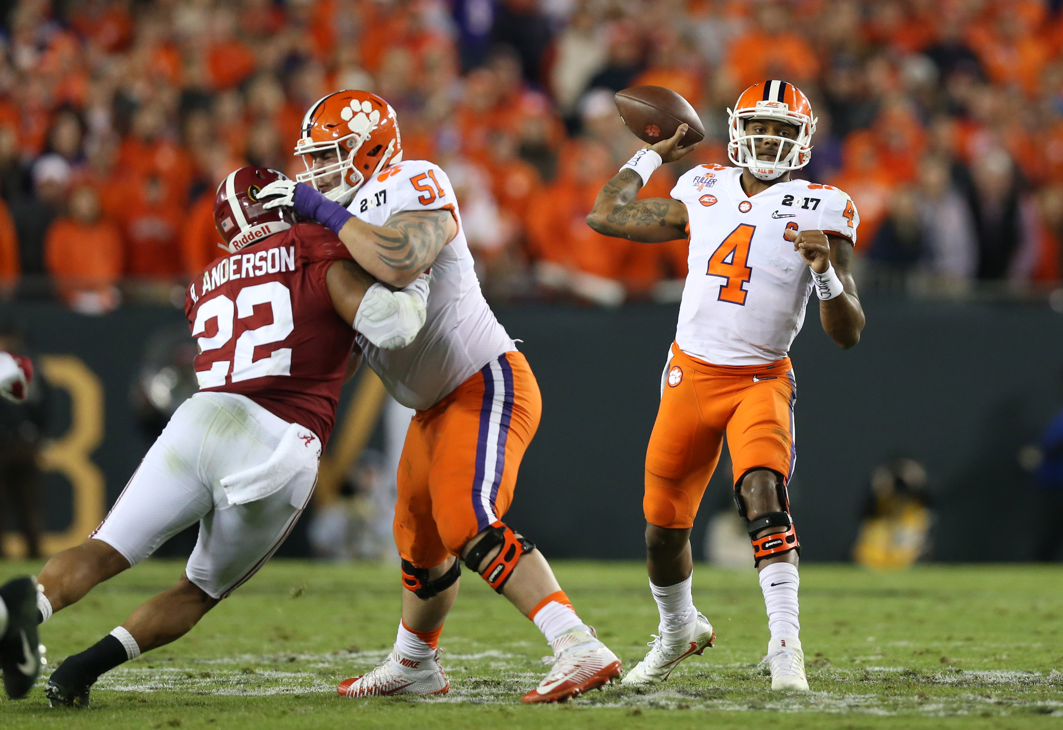 Jan 9, 2017; Tampa, FL, USA; Clemson Tigers quarterback Deshaun Watson (4) throws in the pocket against the Alabama Crimson Tide in the 2017 College Football Playoff National Championship Game at Raymond James Stadium. Mandatory Credit: Matthew Emmons-USA TODAY Sports