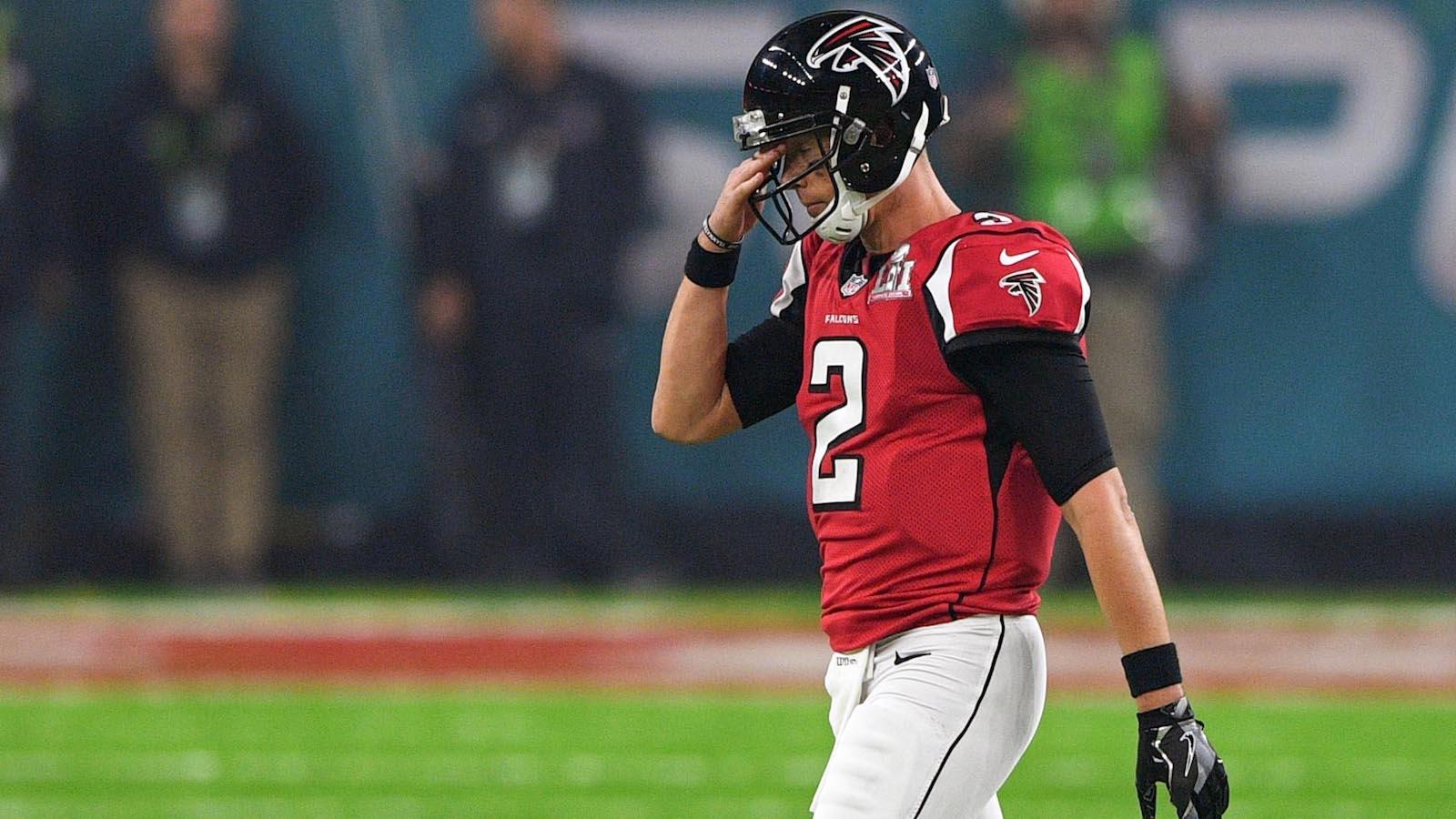 Feb 5, 2017; Houston, TX, USA; Atlanta Falcons quarterback Matt Ryan (2) reacts during the third quarter against the New England Patriots during Super Bowl LI at NRG Stadium. Mandatory Credit: Bob Donnan-USA TODAY Sports