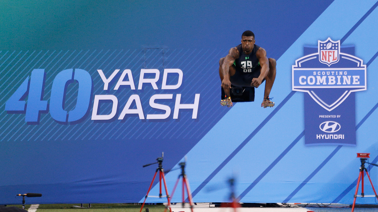 Feb 29, 2016; Indianapolis, IN, USA; Florida Gators  defensive back Keanu Neal jumps up to stretch before running the 40 yard dash during the 2016 NFL Scouting Combine at Lucas Oil Stadium. Mandatory Credit: Brian Spurlock-USA TODAY Sports