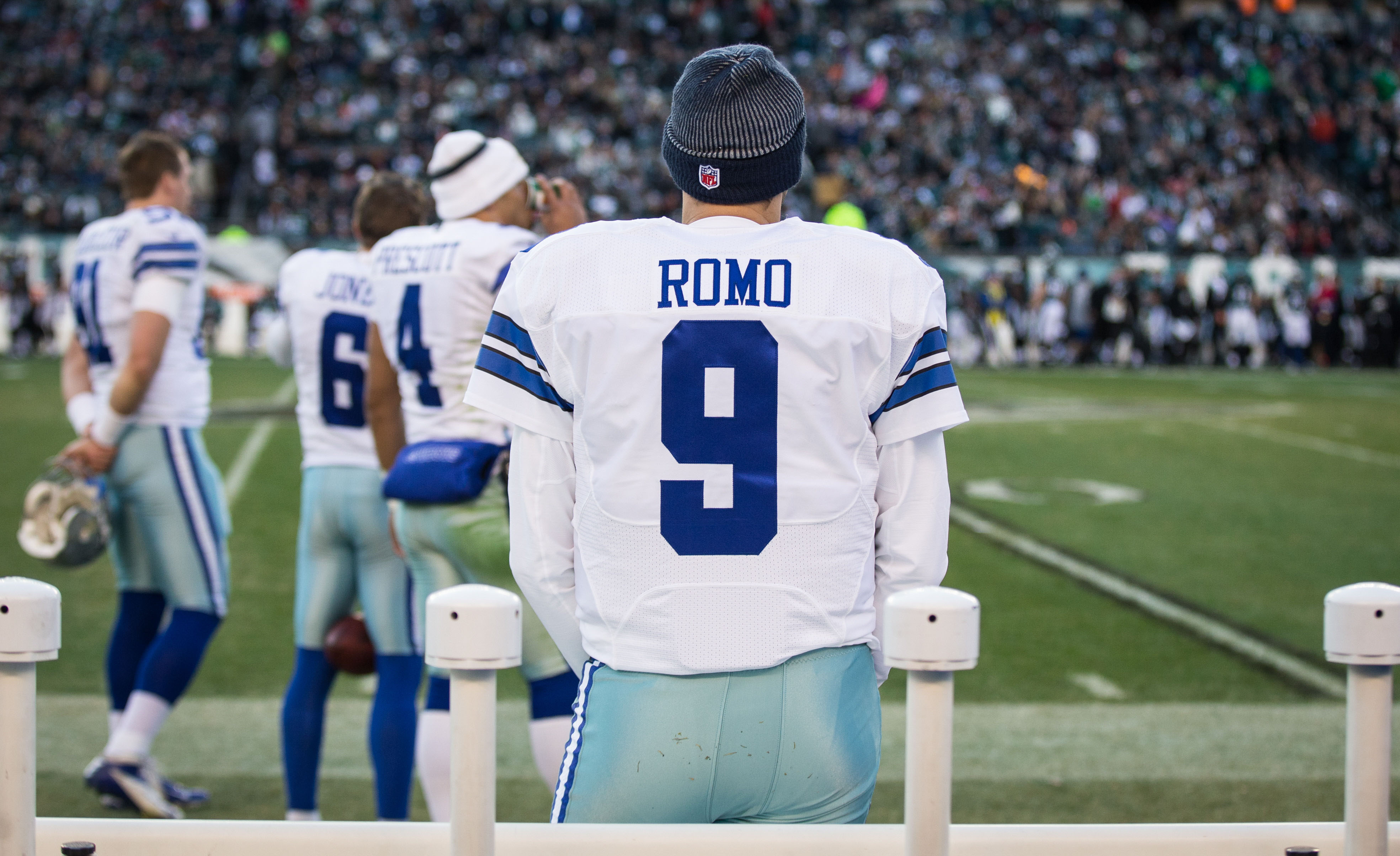 Jan 1, 2017; Philadelphia, PA, USA; Dallas Cowboys quarterback Tony Romo (9) sits on the bench while watching game action against the Philadelphia Eagles at Lincoln Financial Field. The Philadelphia Eagles won 27-13. Mandatory Credit: Bill Streicher-USA TODAY Sports