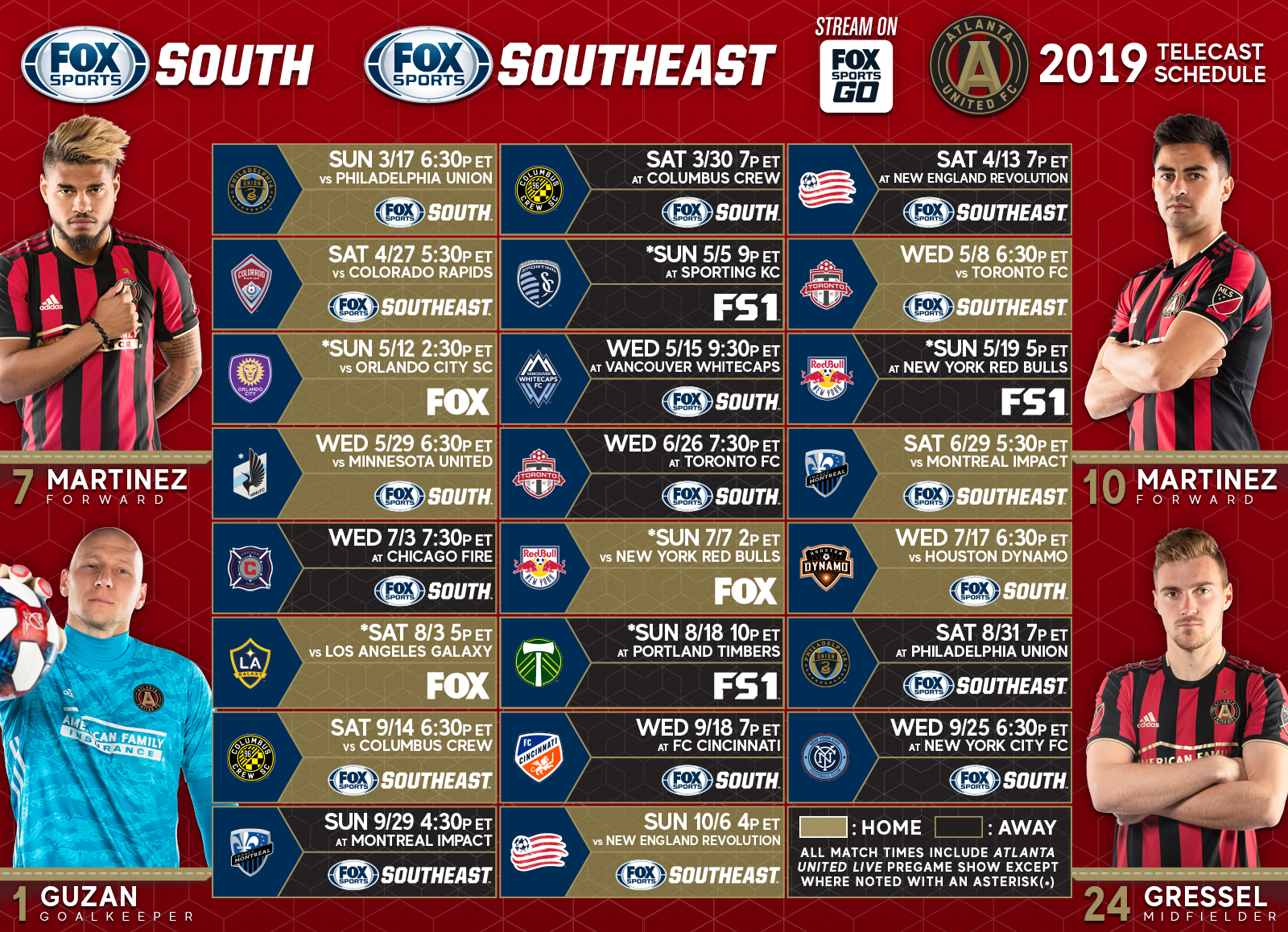 Atlanta United TV schedule on FOX Sports South, FOX Sports
