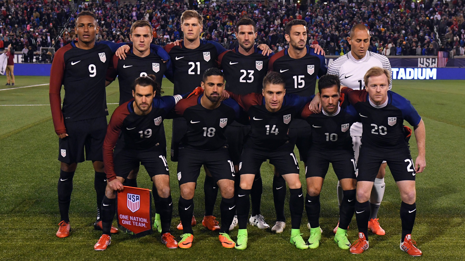 Feb 3, 2017; Chattanooga, TN, USA; United States players pose for a team photo prior to the international friendly game against Jamaica at Finley Stadium. Mandatory Credit: Christopher Hanewinckel-USA TODAY Sports