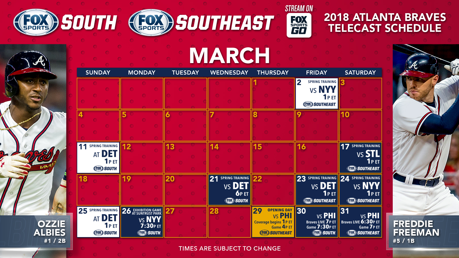 atlanta braves tv schedule: march | fox sports