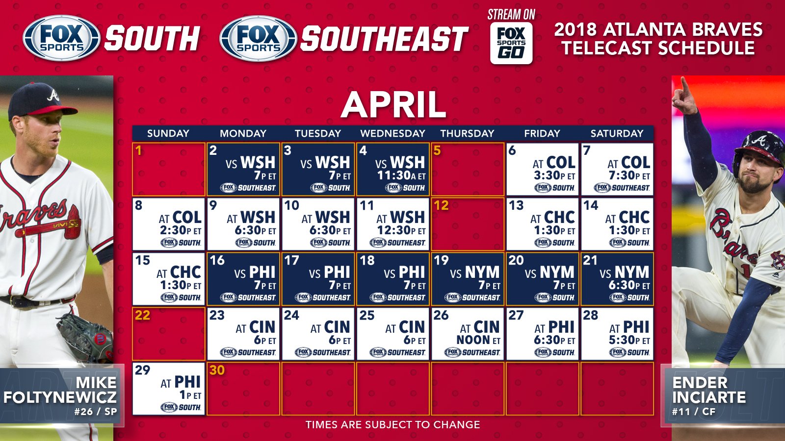 image relating to Atlanta Braves Schedule Printable called Atlanta Braves Tv set Agenda: April FOX Sports activities