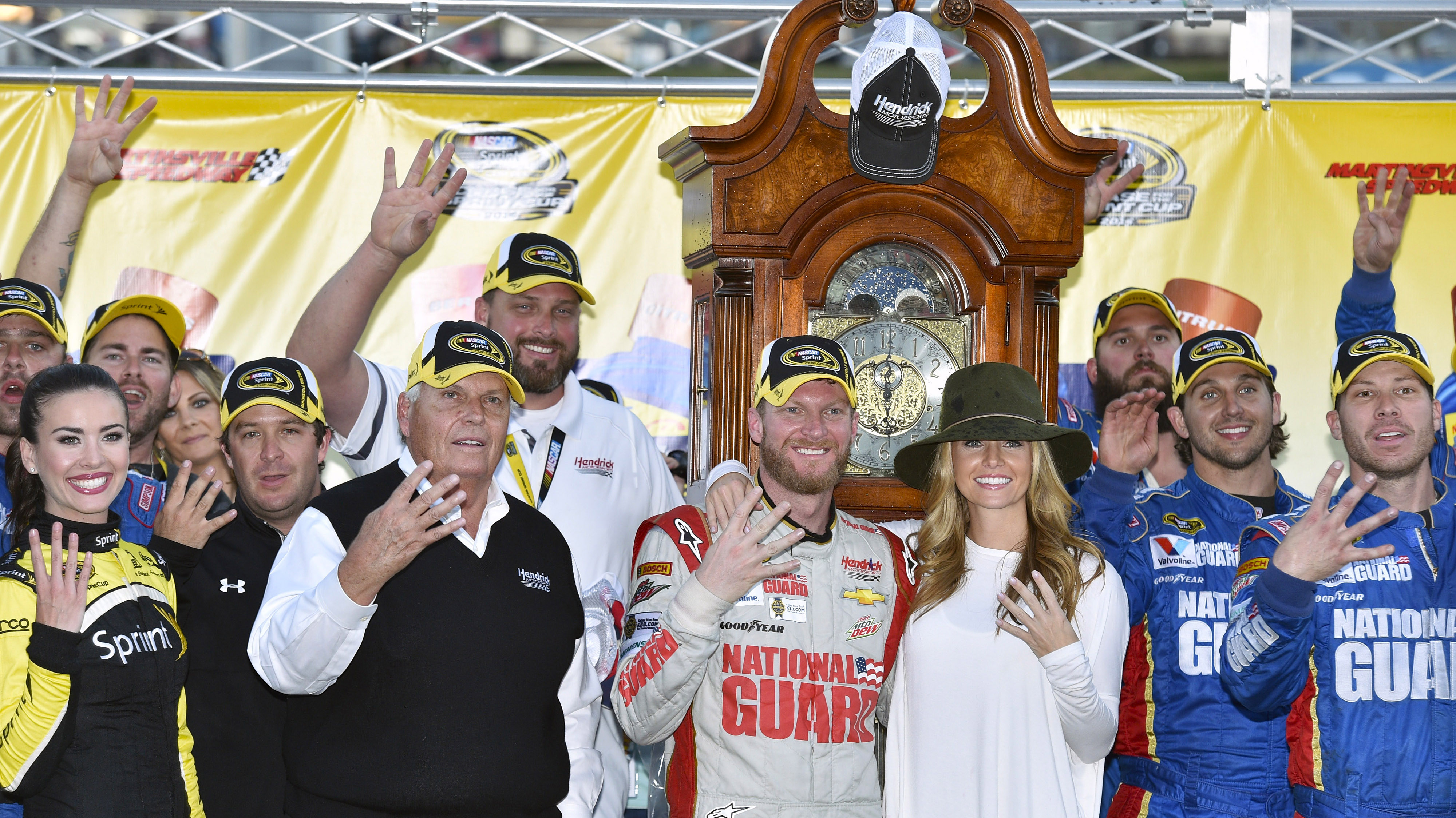 24-26 October, 2014, Martinsville, Virginia USA Dale Earnhardt Jr celebrates his win in Victory Lane © 2014, Nigel Kinrade LAT Photo USA