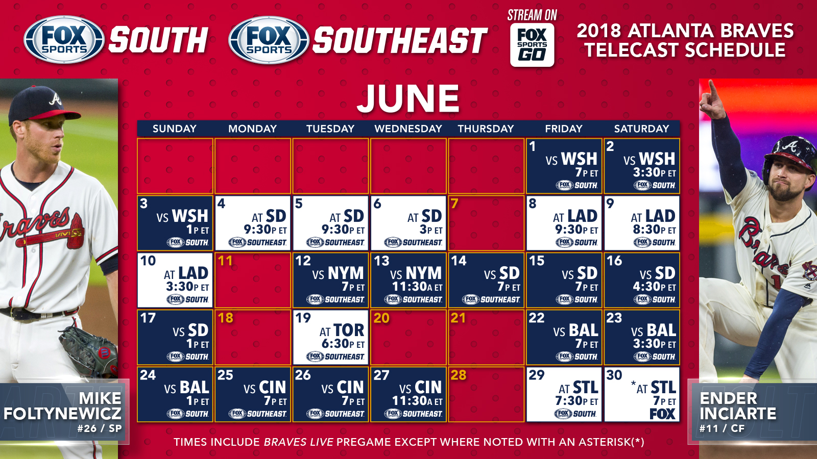 atlanta braves tv schedule: june | fox sports