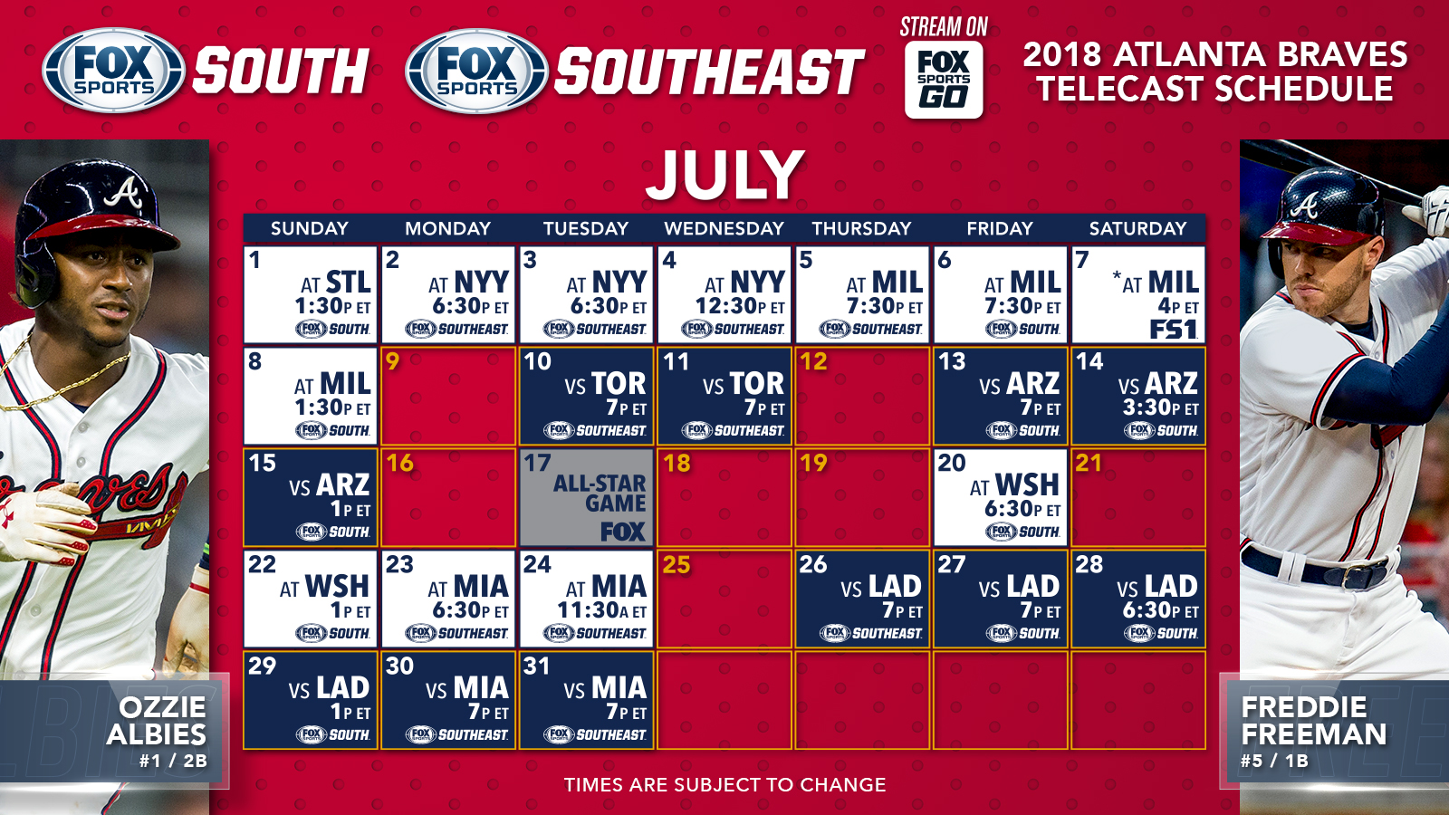 atlanta braves tv schedule: july | fox sports