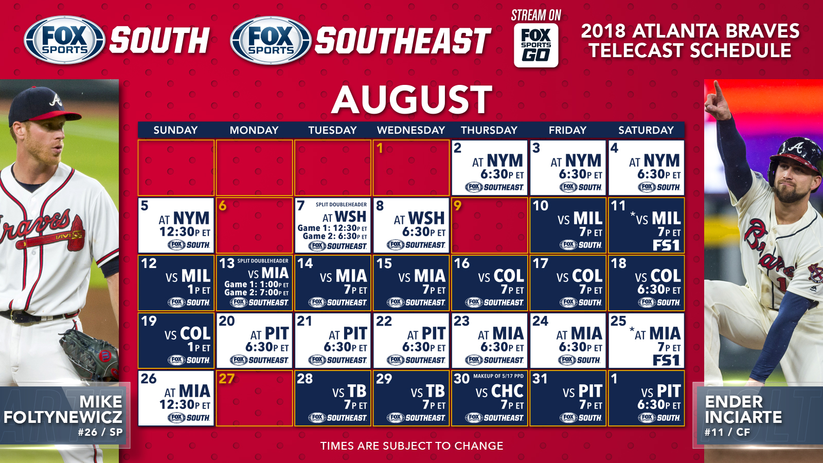 atlanta braves tv schedule: august | fox sports