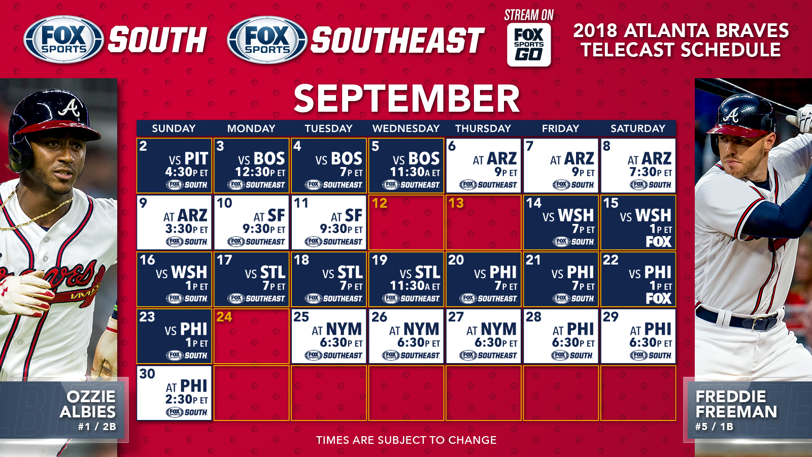 atlanta braves tv schedule: september/october | fox sports