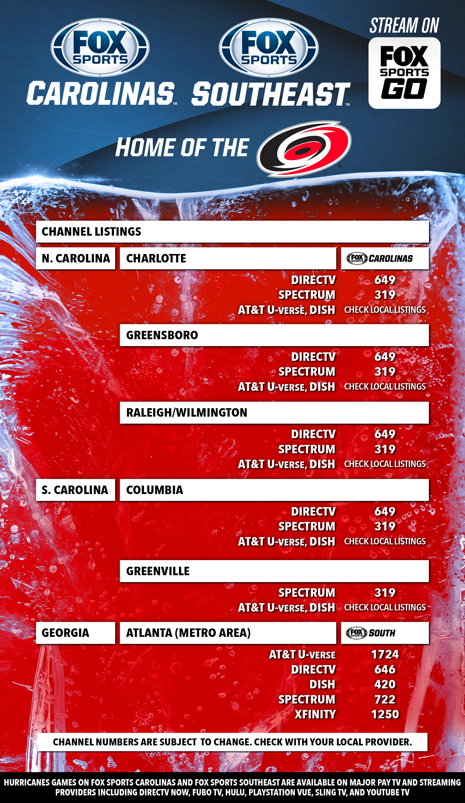 Carolina Hurricanes Channel Listings | FOX Sports