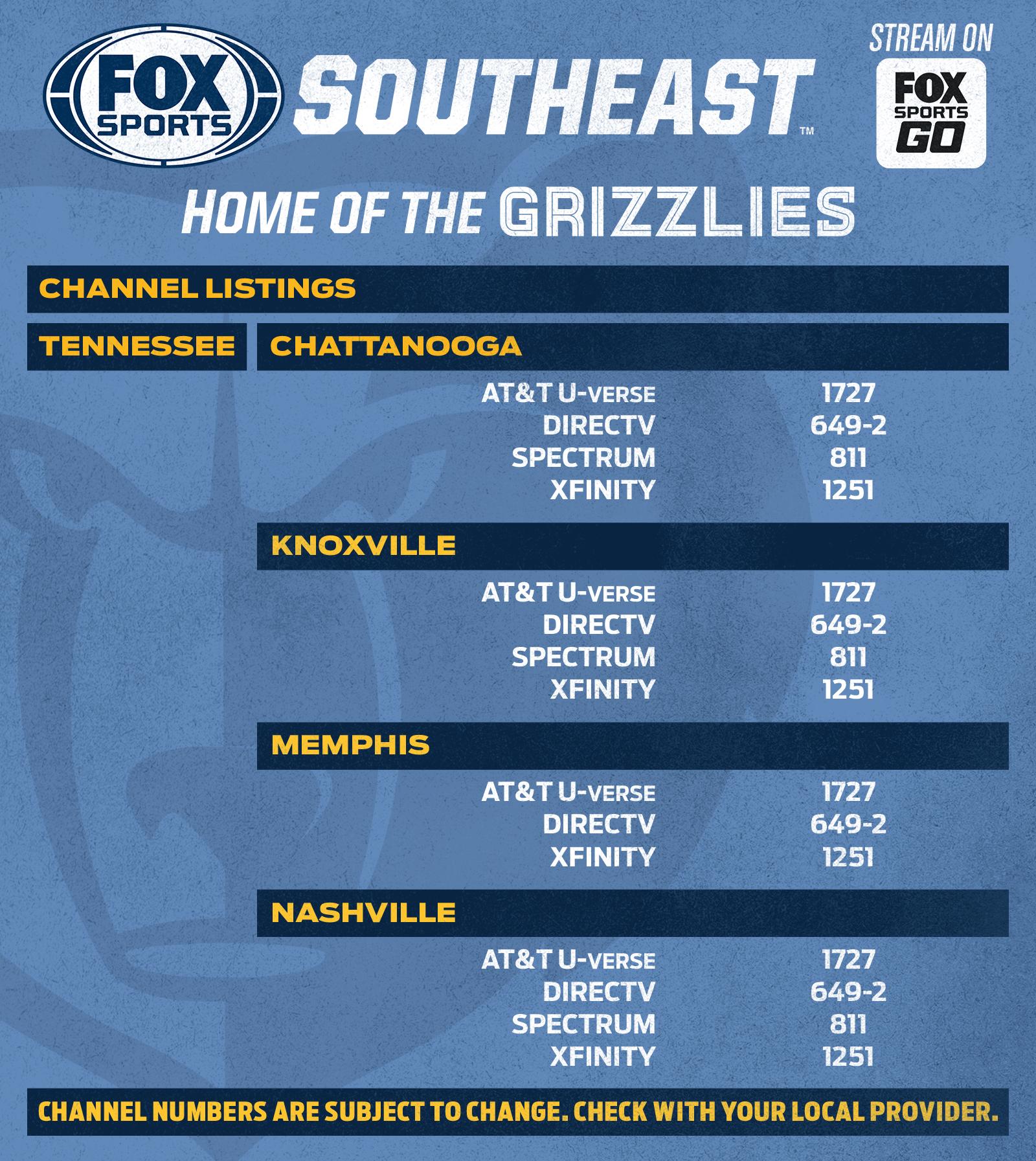 Memphis Grizzlies Channel Listings Fox Sports