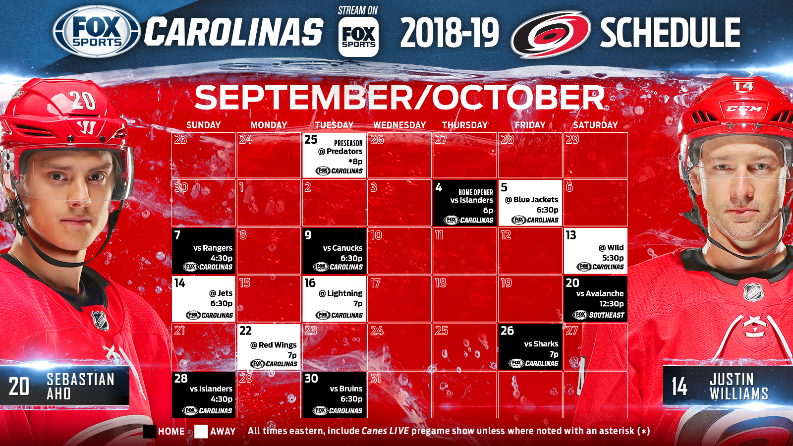 carolina hurricanes tv schedule: october | fox sports