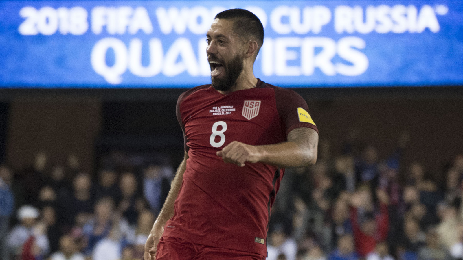 March 24, 2017; San Jose, CA, USA; United States forward Clint Dempsey (8) celebrates after scoring a hat trick against the Honduras during the second half of the Men's World Cup Soccer Qualifier at Avaya Stadium. The United States defeated Honduras 6-0. Mandatory Credit: Kyle Terada-USA TODAY Sports