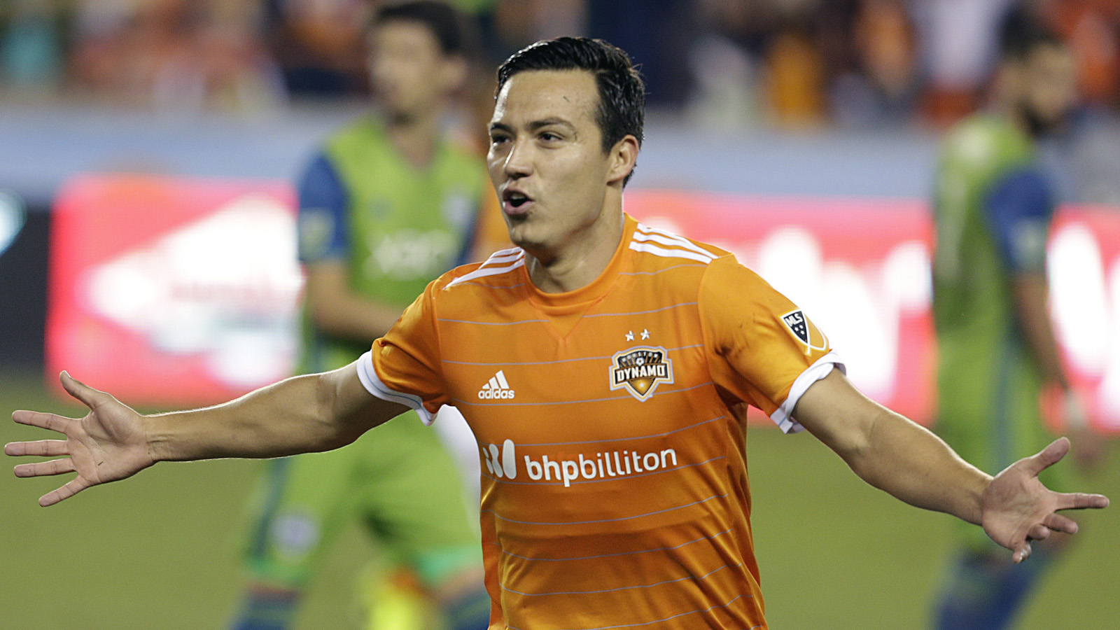 Mar 4, 2017; Houston, TX, USA; Houston Dynamo forward Erick Torres (9) celebrates after scoring on a free kick against the Seattle Sounders in the first half at BBVA Compass Stadium. Mandatory Credit: Thomas B. Shea-USA TODAY Sports