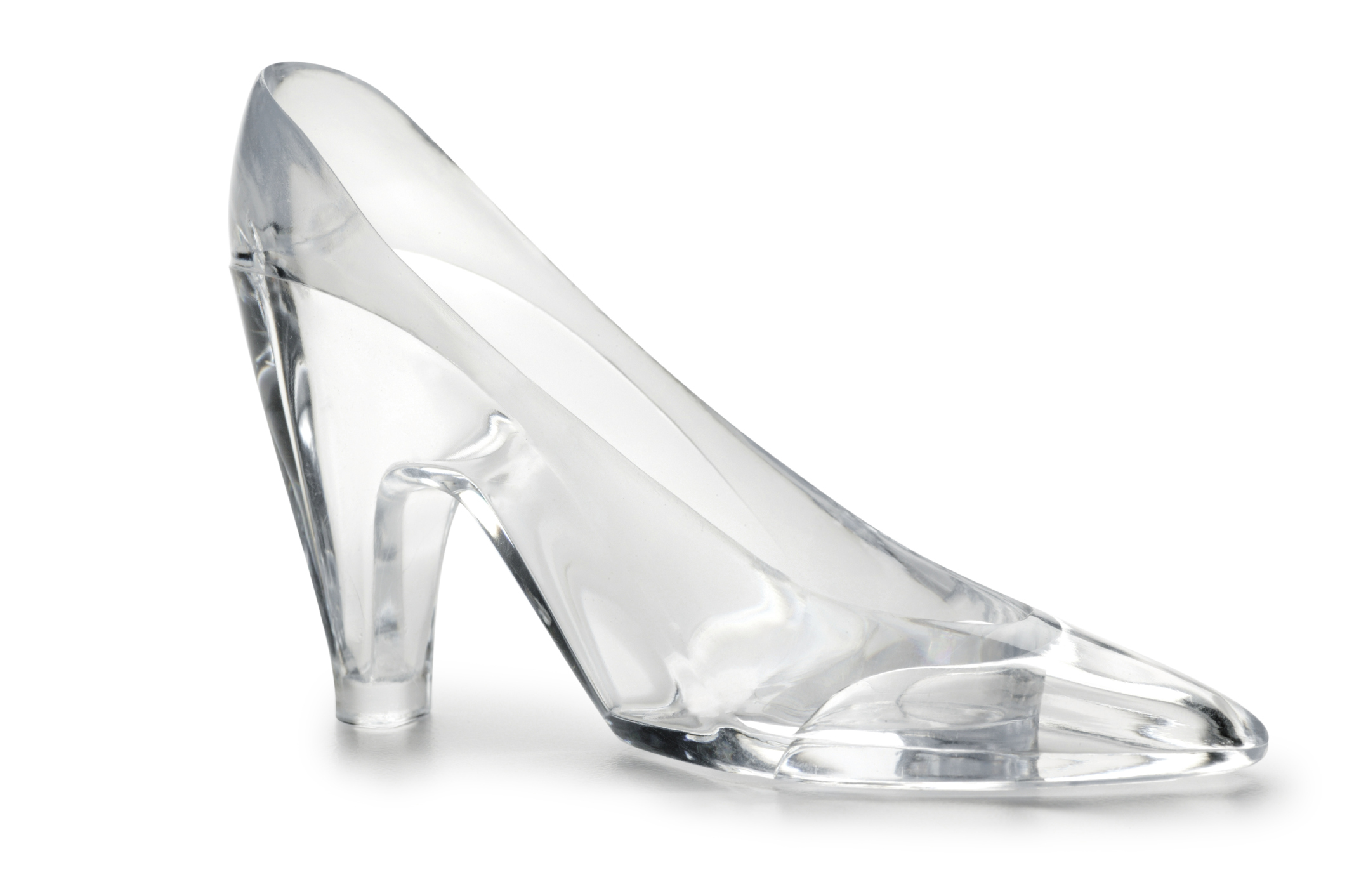 A glass slipper on white with soft shadow
